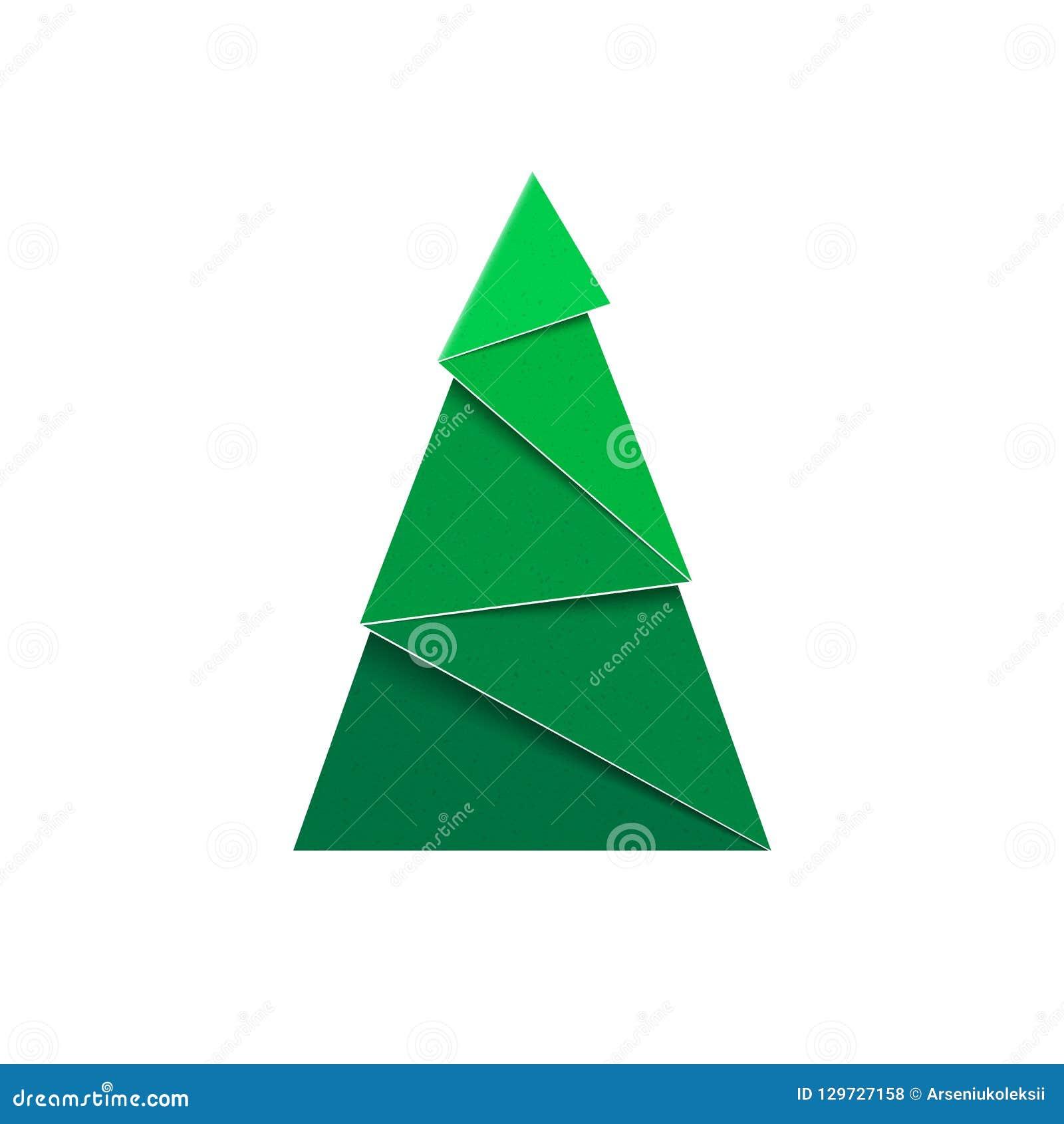 Abbildung auf rotem Hintergrund Papercraft-Grün-Tannenzeichen des neuen Jahres