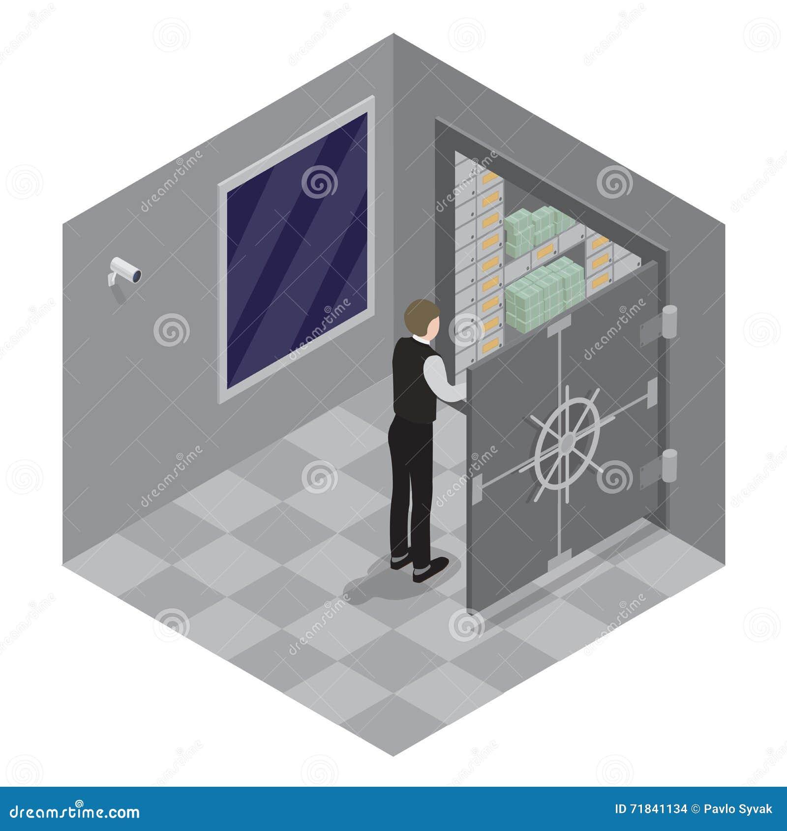 Abbildung 3d des geschlossenen Stahlsafes über weißem Hintergrund Offene Tür des Bank-Safes Banktresor