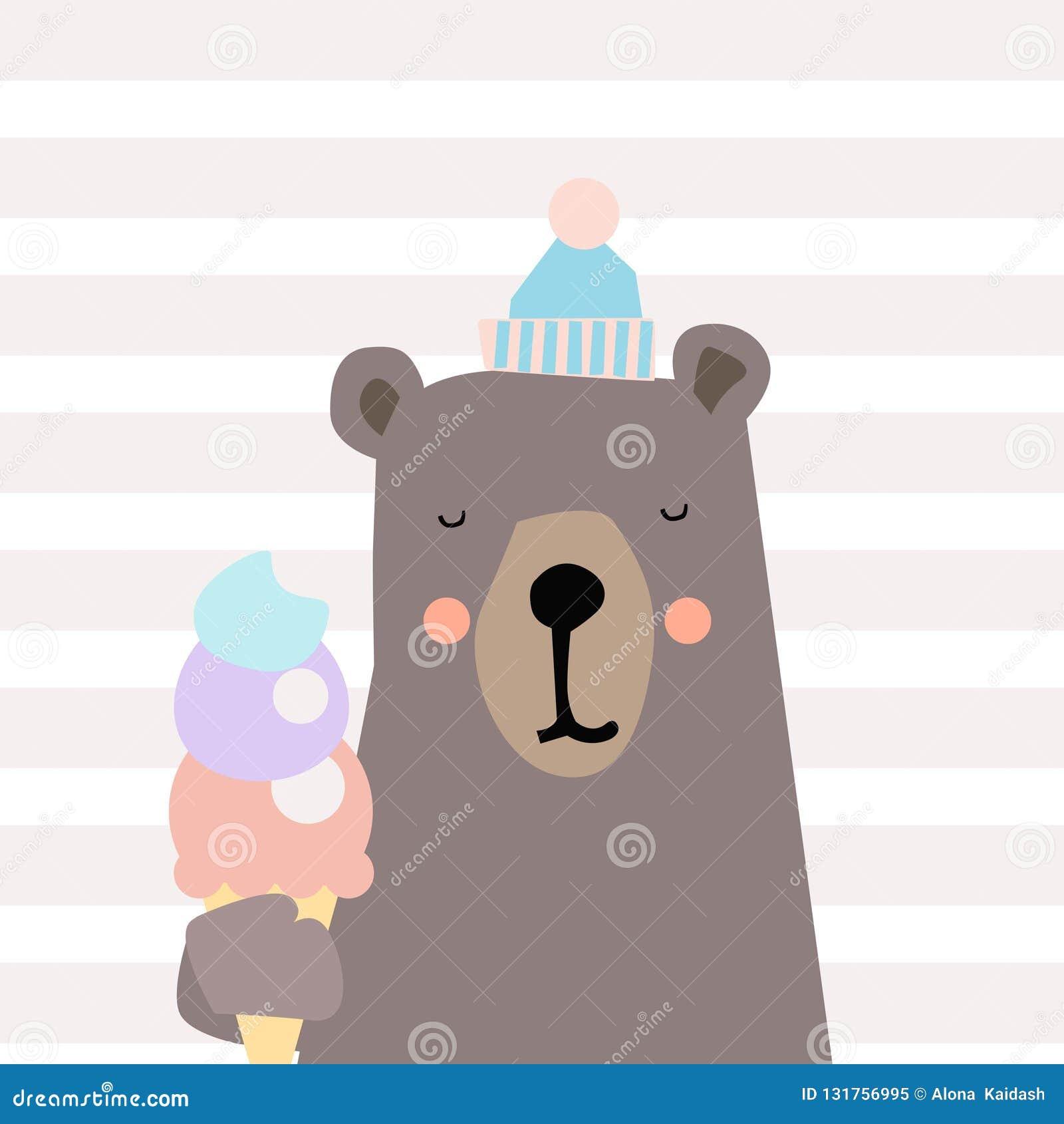 Abbildung des netten Bären Kleiner Bär der netten Karikatur Auch im corel abgehobenen Betrag