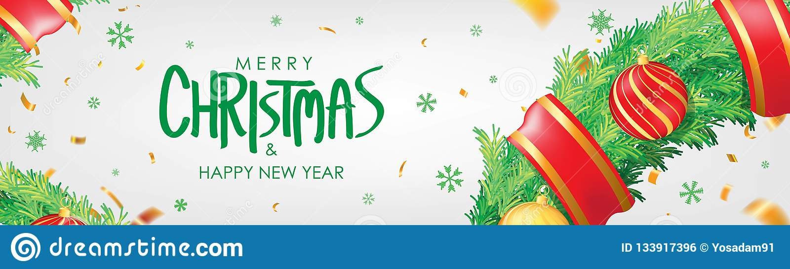 Abbildung des VektorEps10 Hintergrund der weißen Weihnacht mit Weihnachtsbällen, Schneeflocken und Goldkonfettis Horizontales Wei