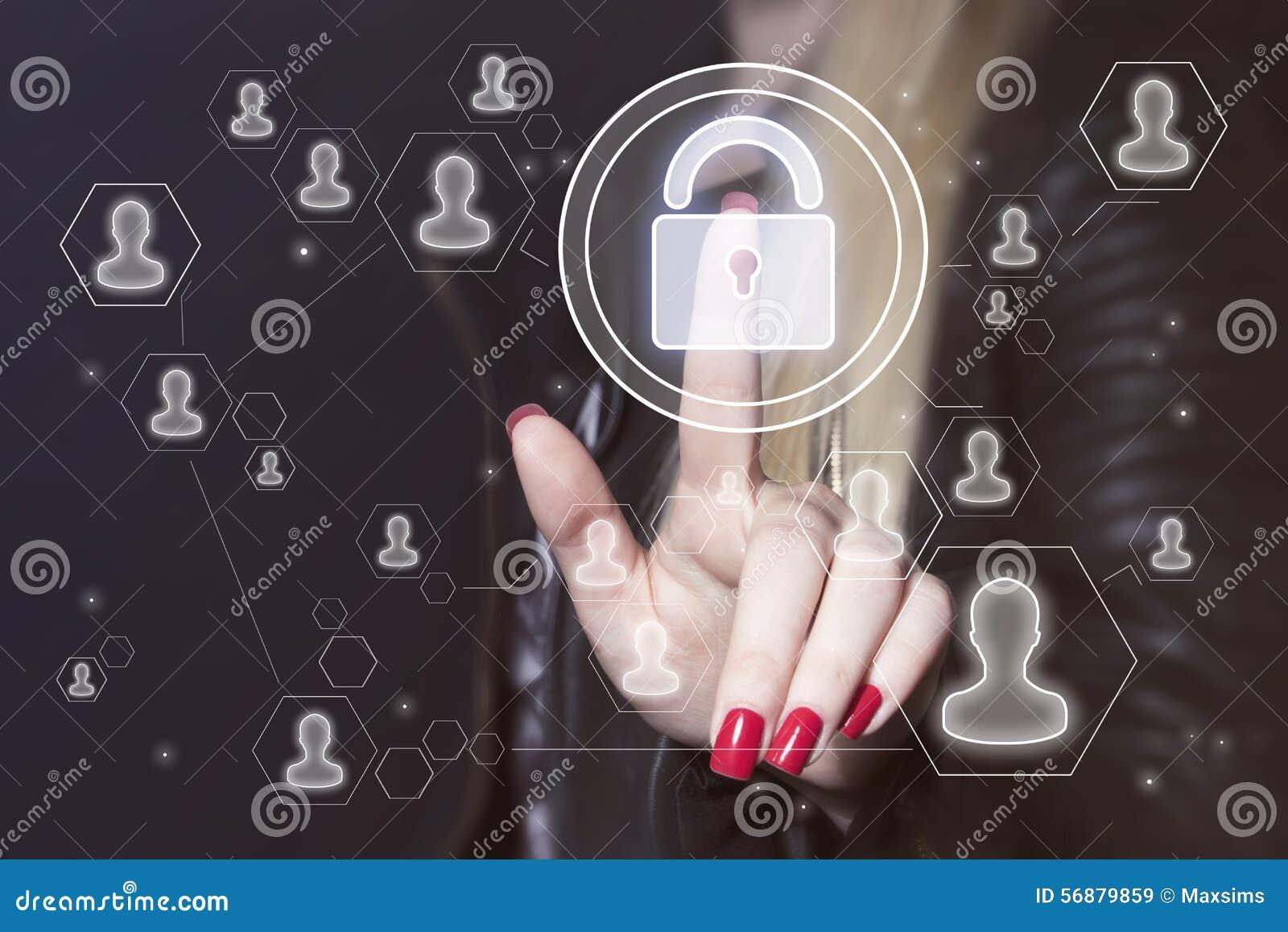 Abbottoni l icona online di affari di web di sicurezza della serratura