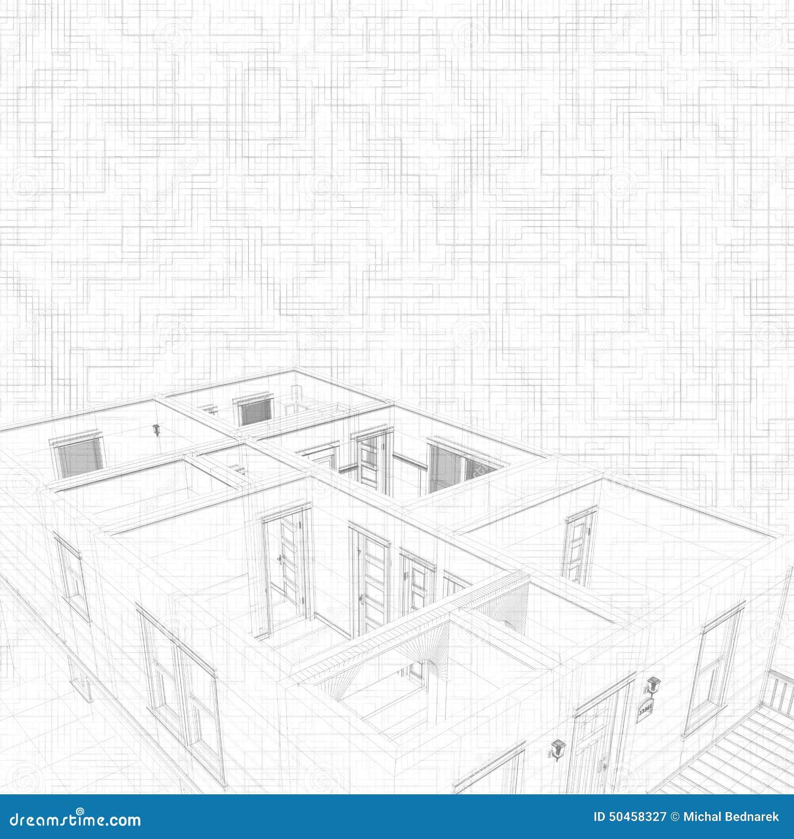 Abbozzo 3d di una casa concetto del progetto dell for Architettura di casa online