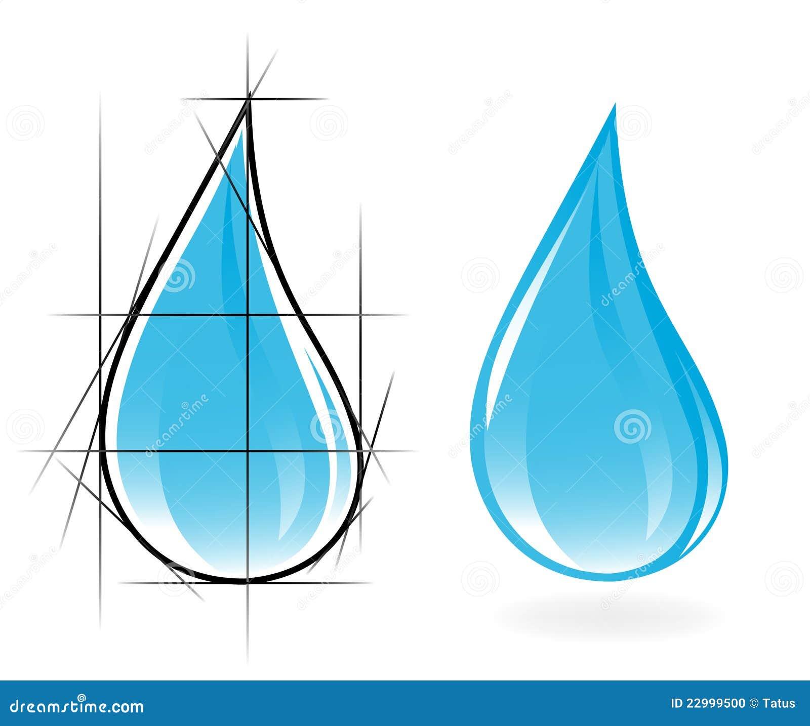 Abbozzo di goccia libera dell acqua