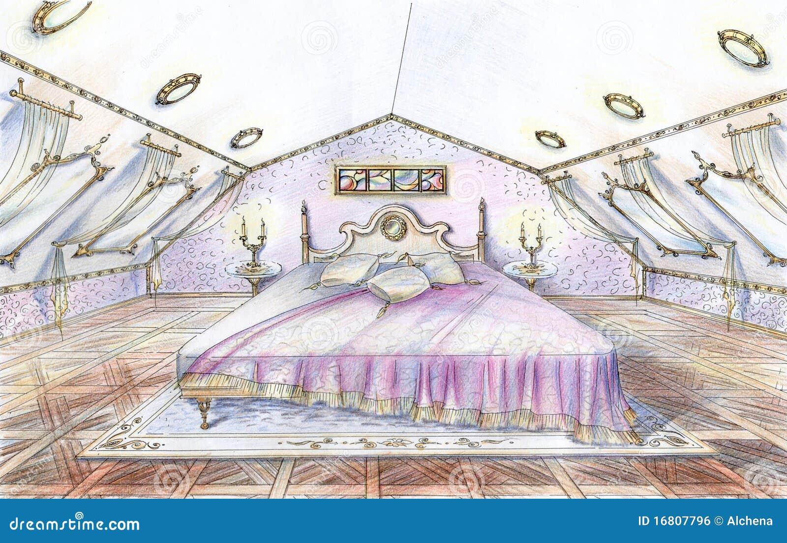 Abbozzo disegnato a mano della camera da letto classica di - Camera da letto seconda mano ...