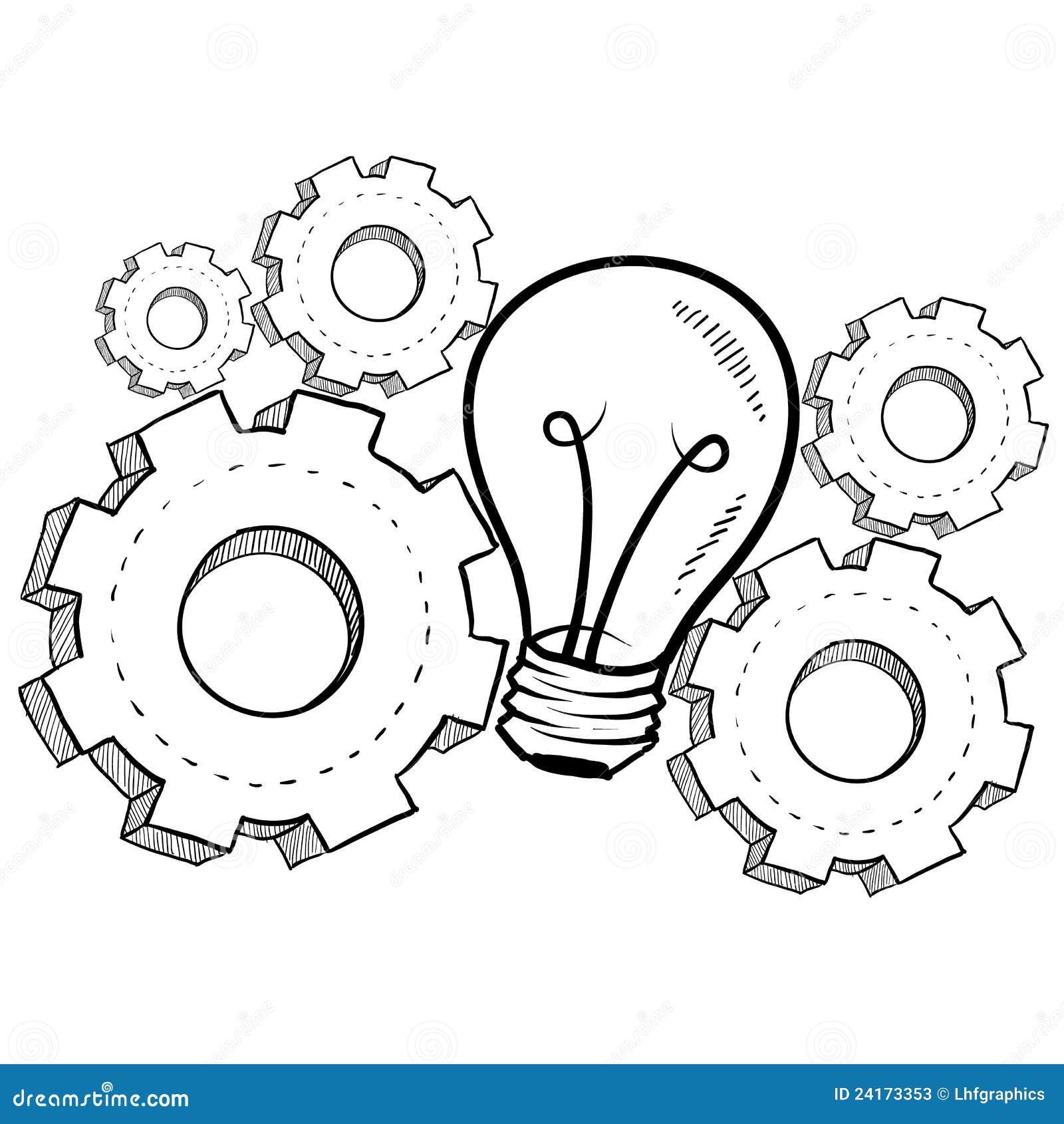 Doodle la lampadina di idea di stile con le attrezzature di lavoro per ...