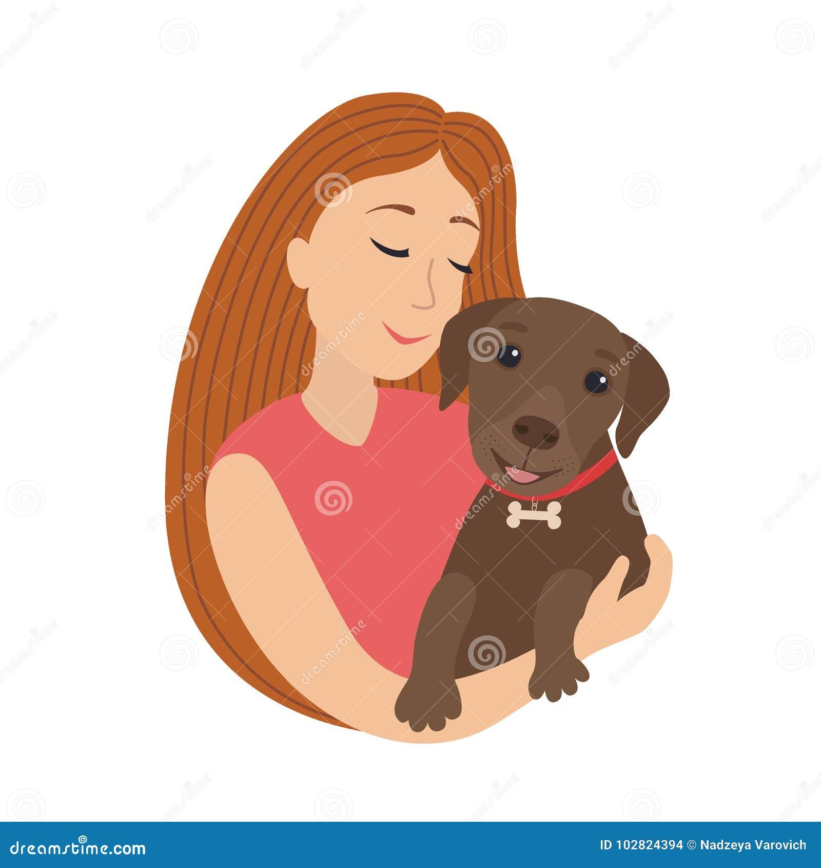 Abbraccio Sorridente Della Ragazza Del Fumetto Sveglio Di Vettore Un Cucciolo Labrador Tenuta Donna