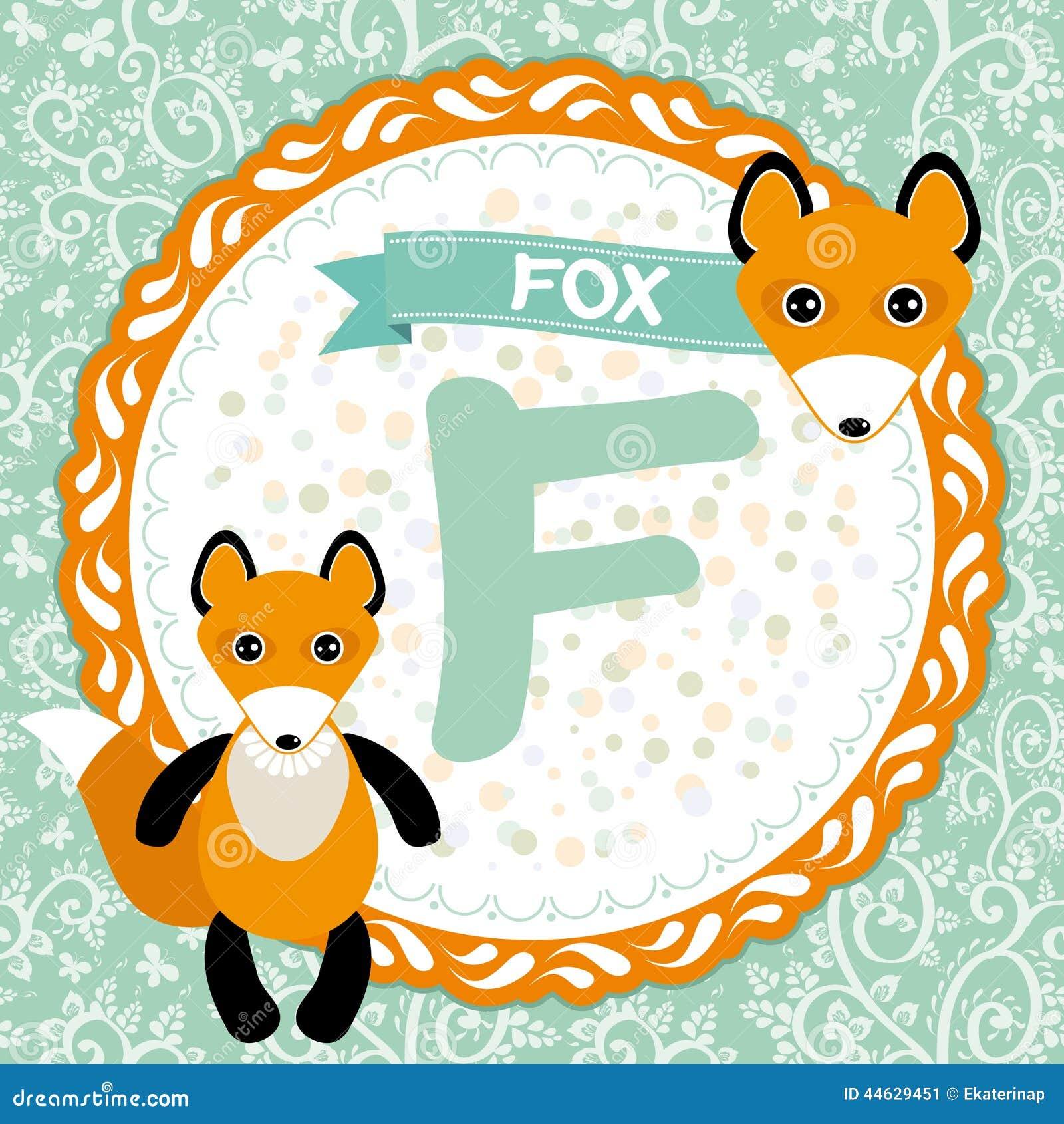 狐狸色中国片_abc动物f是狐狸 儿童的英语字母表 向量