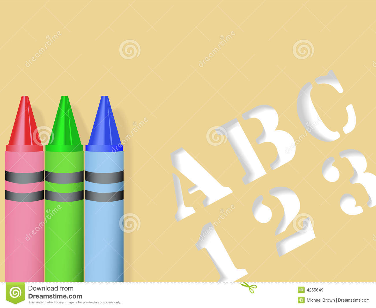 ABC 123 Stencil & Red Green Blue Crayons Royalty Free Stock Images ...
