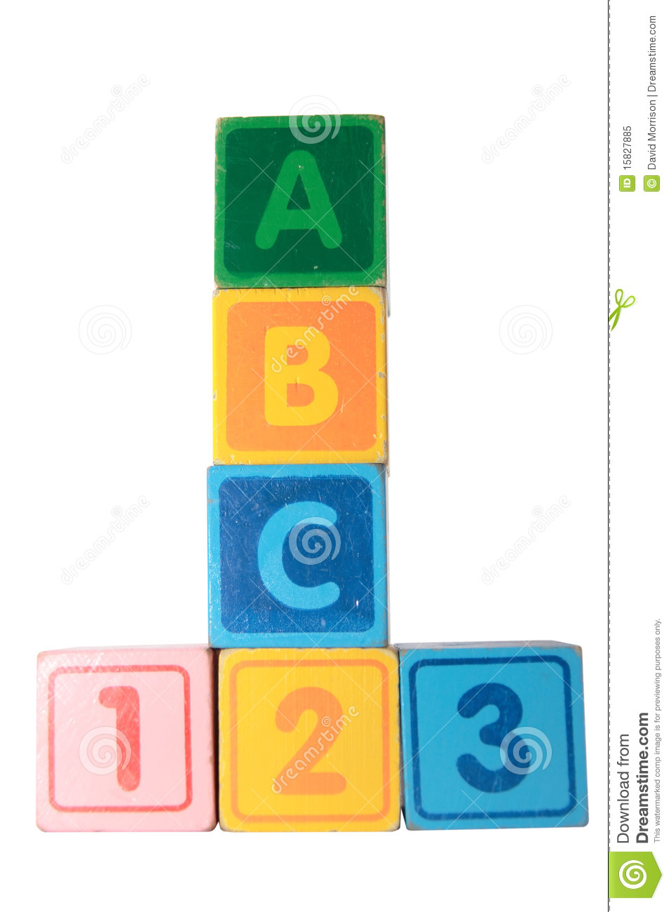 Abc 123 In Wooden Block Letters With Clipping Path Royalty ...