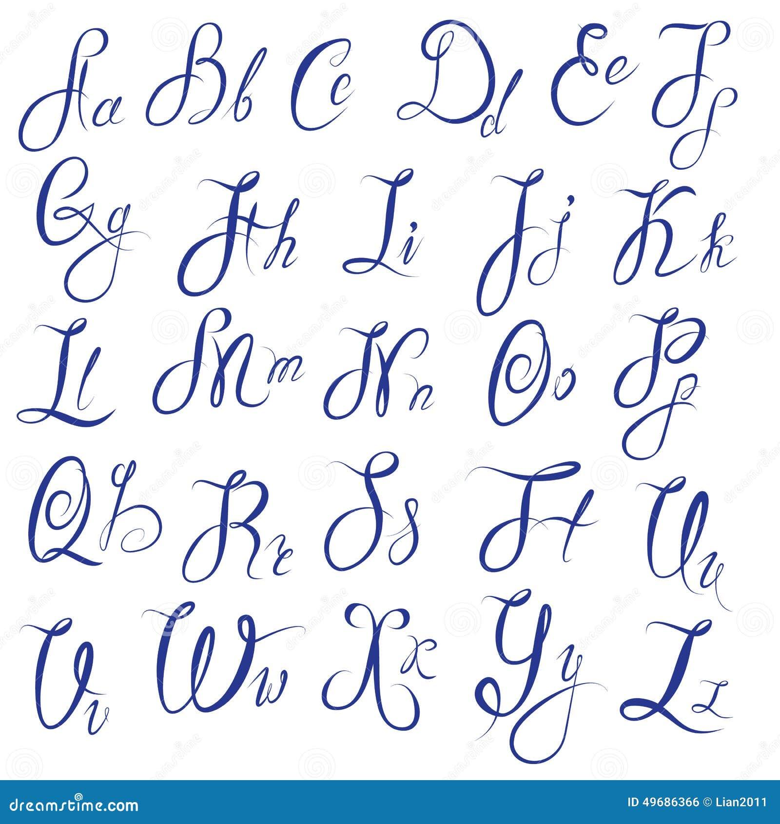 Populaire ABC - Alphabet Anglais - Calligraphique Manuscrit Illustration de  RO51