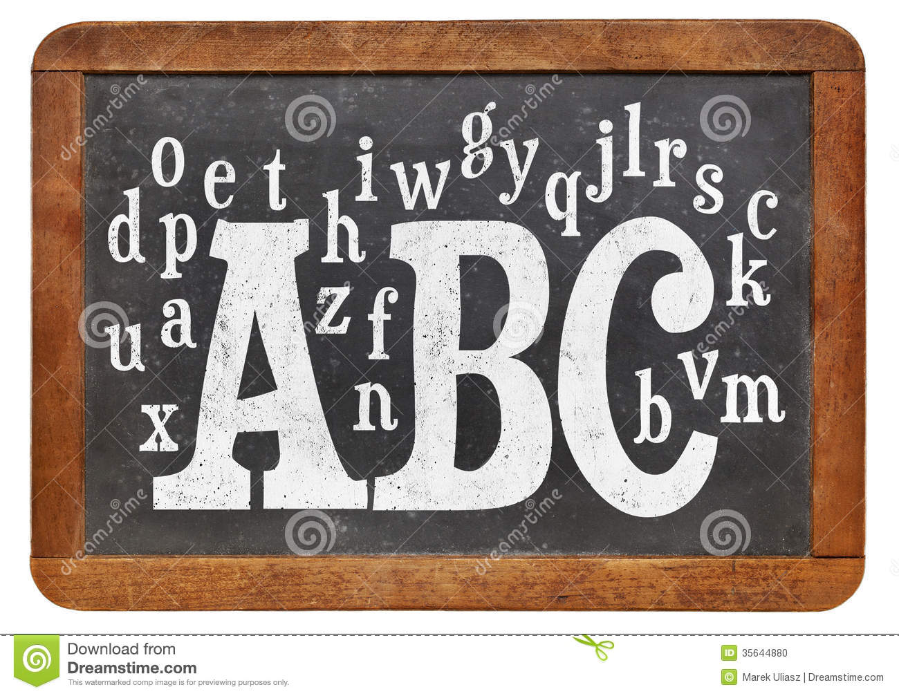 Abc and alphabet on blackboard stock photo image 35644880 for Blackboard with white removable letters