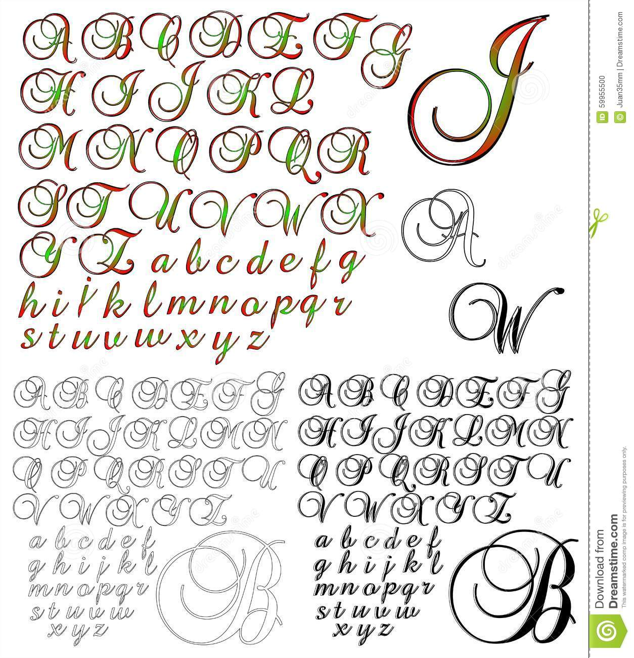 Download ABC Alphabet Lettering Design Sets Stock Illustration