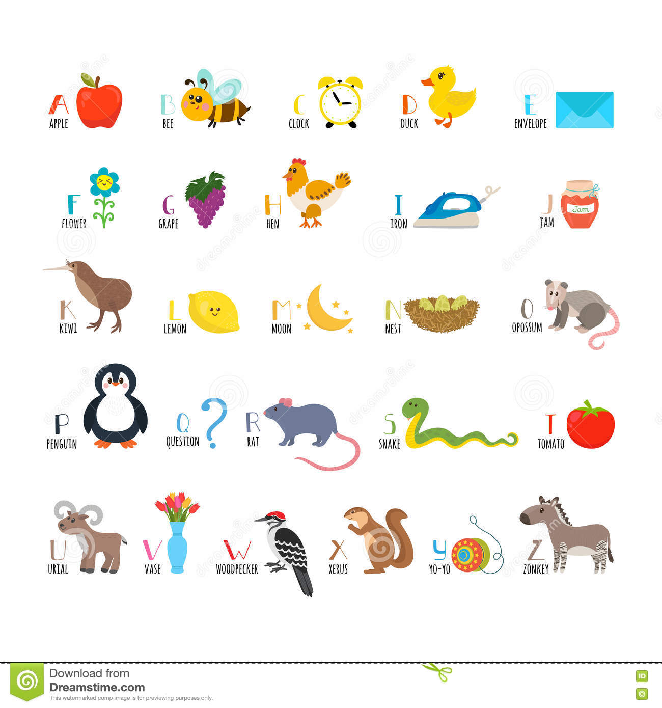 abc apprenez s 39 afficher alphabet d 39 enfants avec les animaux mignons de bande dessin e. Black Bedroom Furniture Sets. Home Design Ideas