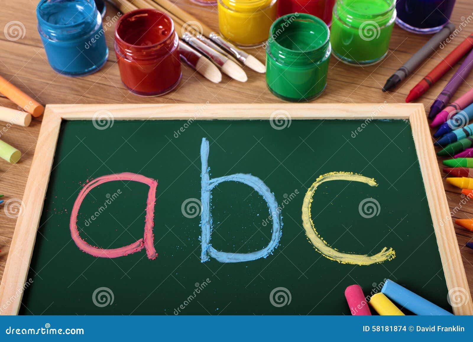 ABC Alphabet Chalk Blackboard, Preschool Reading And Writing Lesson ...
