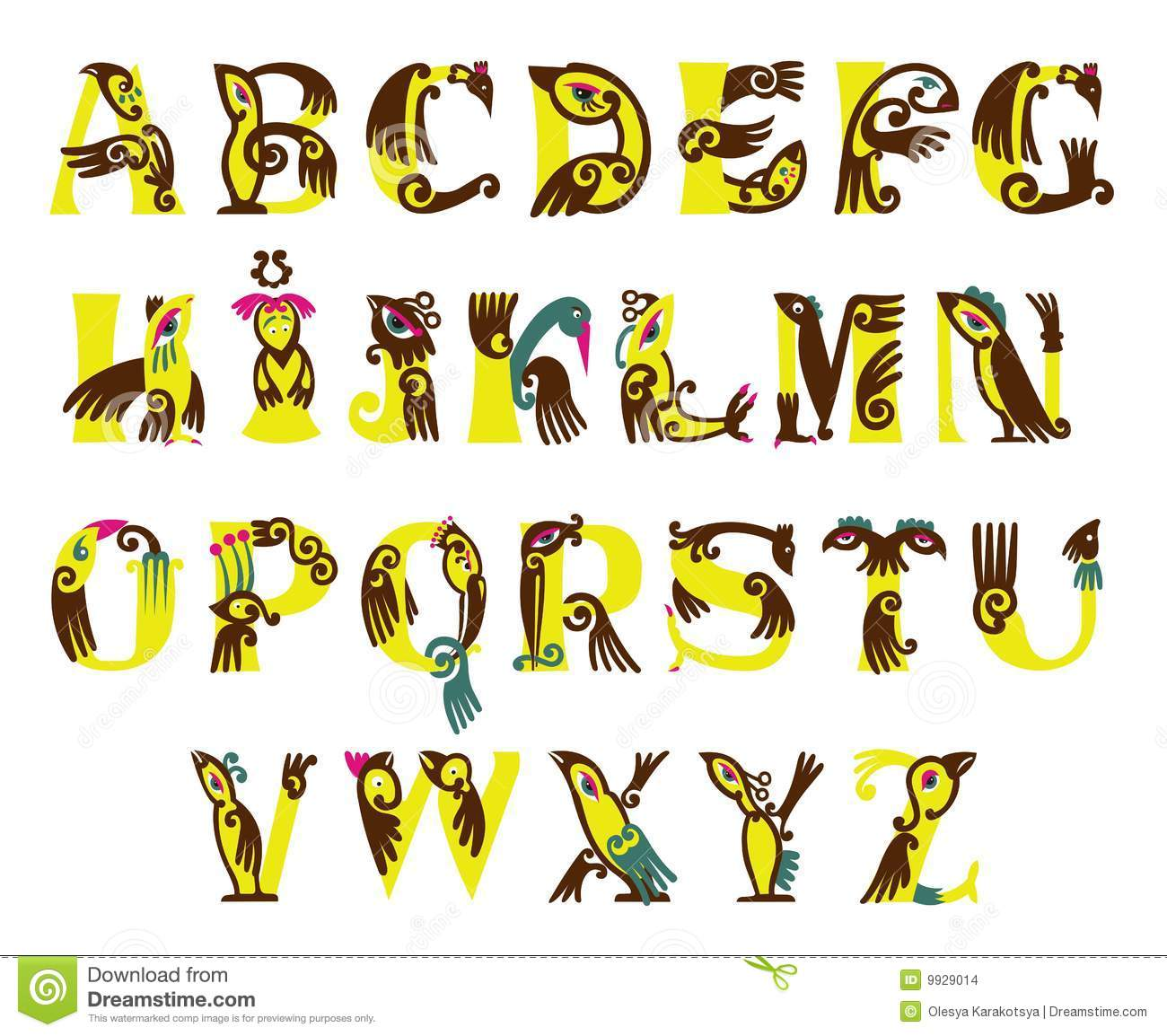 U Graffiti Letters ABC - BIRDS stock illu...
