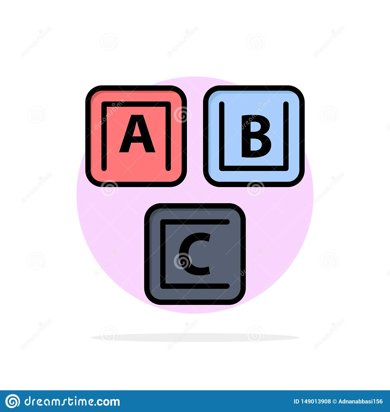 ABC, bloques, básicos, alfabeto, icono plano del color de fondo abstracto del círculo del conocimiento