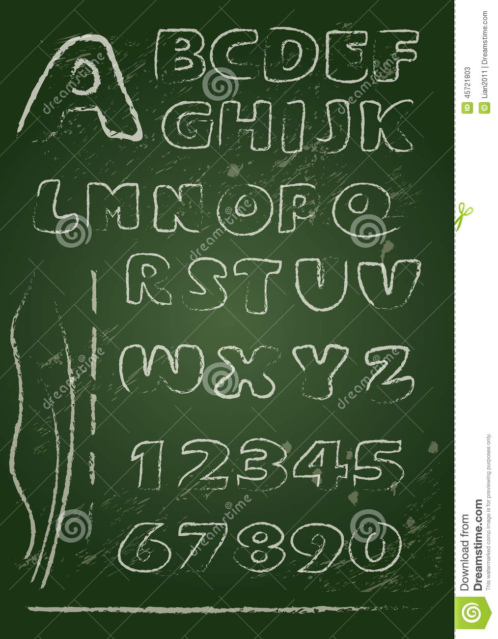 Abc english alphabet written on a blackboard stock image for Blackboard with white removable letters