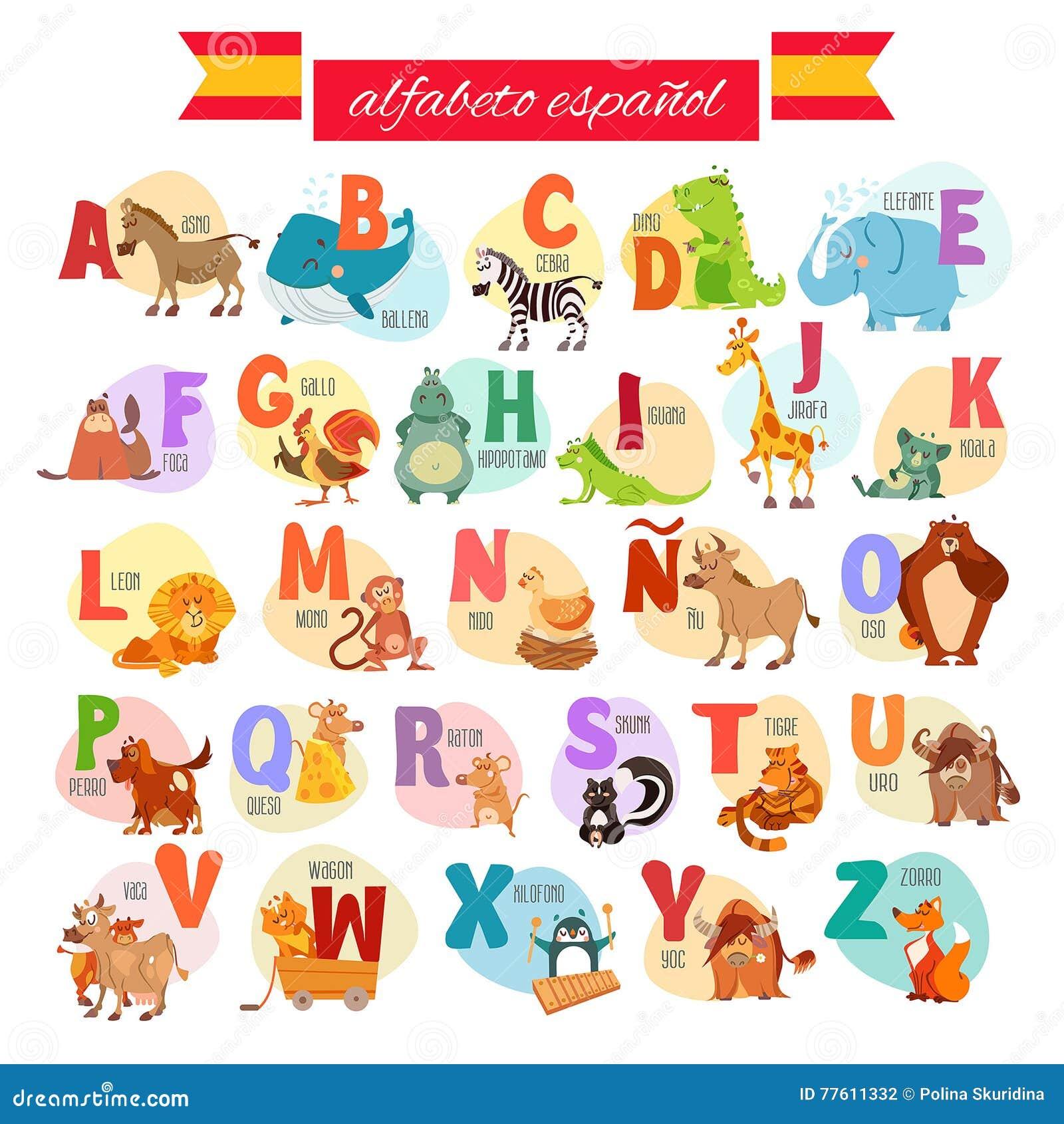 ABC Español Para La Educación Preescolar Ilustración del
