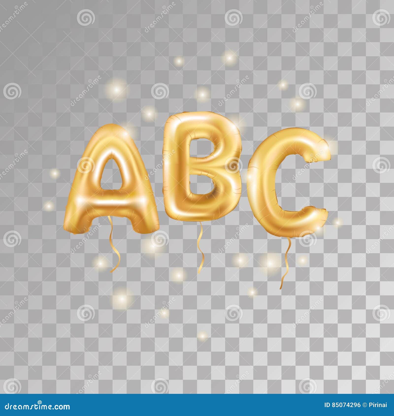 Golden Alphabet Balloon Logotype Icon Metallic Gold ABC Balloons Text For Childrens Reading Hornbook Letter Holiday Birthday Celebration