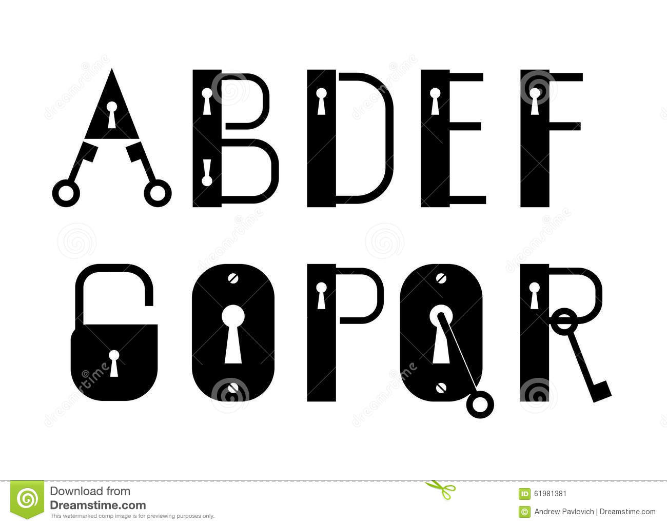 Download ABC Key And Lock Logotypes Or Decorative Font Stock Vector