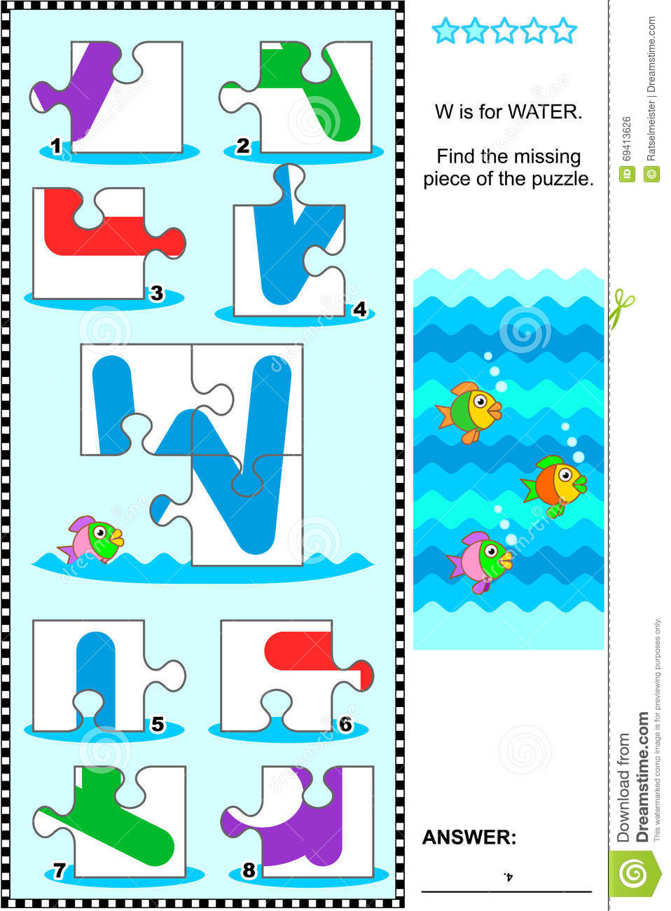 ABC learning educational puzzle - letter W (water)