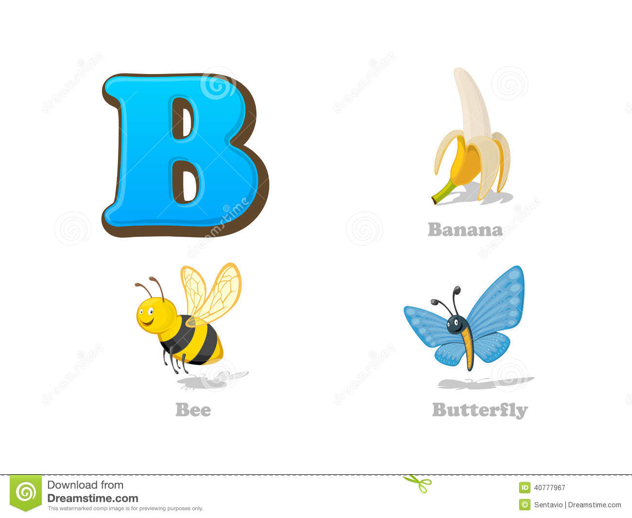Abc Letter B Funny Kid Icons Set Banana Bee Butterfly