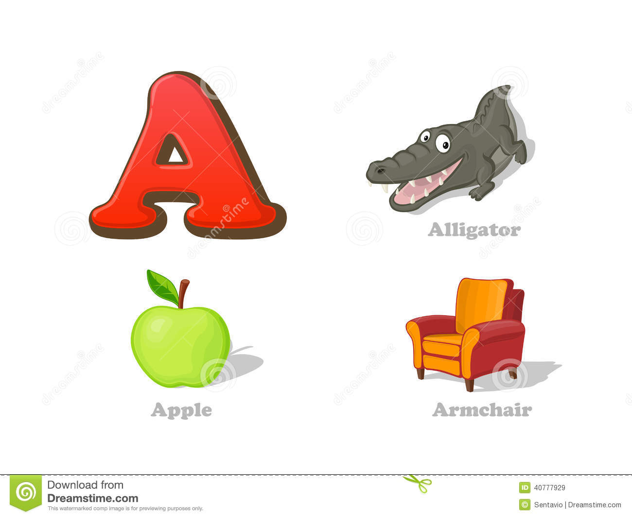 Abc Letter A Funny Kid Icons Set Alligator Apple