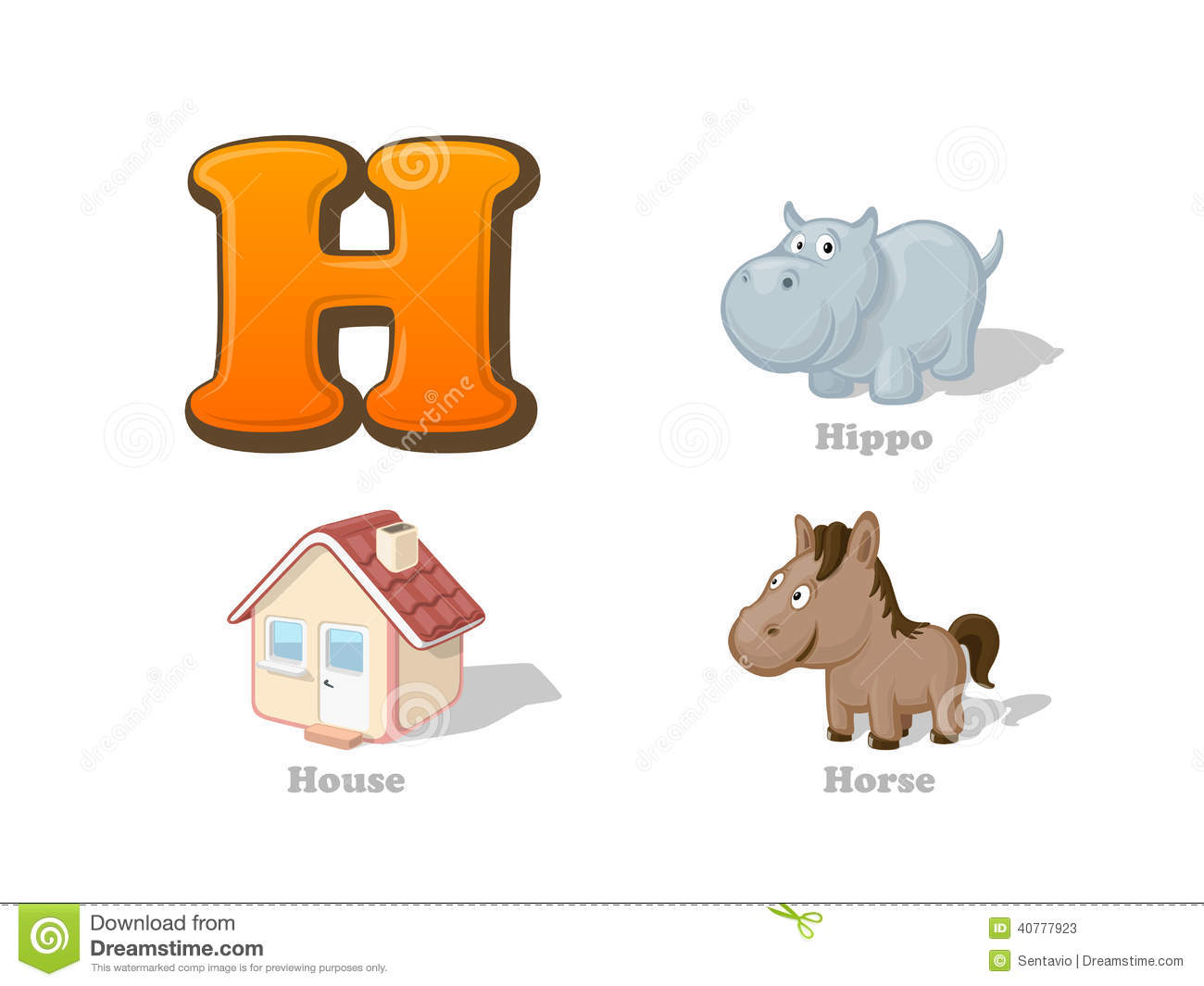 ABC Letter H Funny Kid Icons Set: Hippo, House, Horse Stock Vector ...