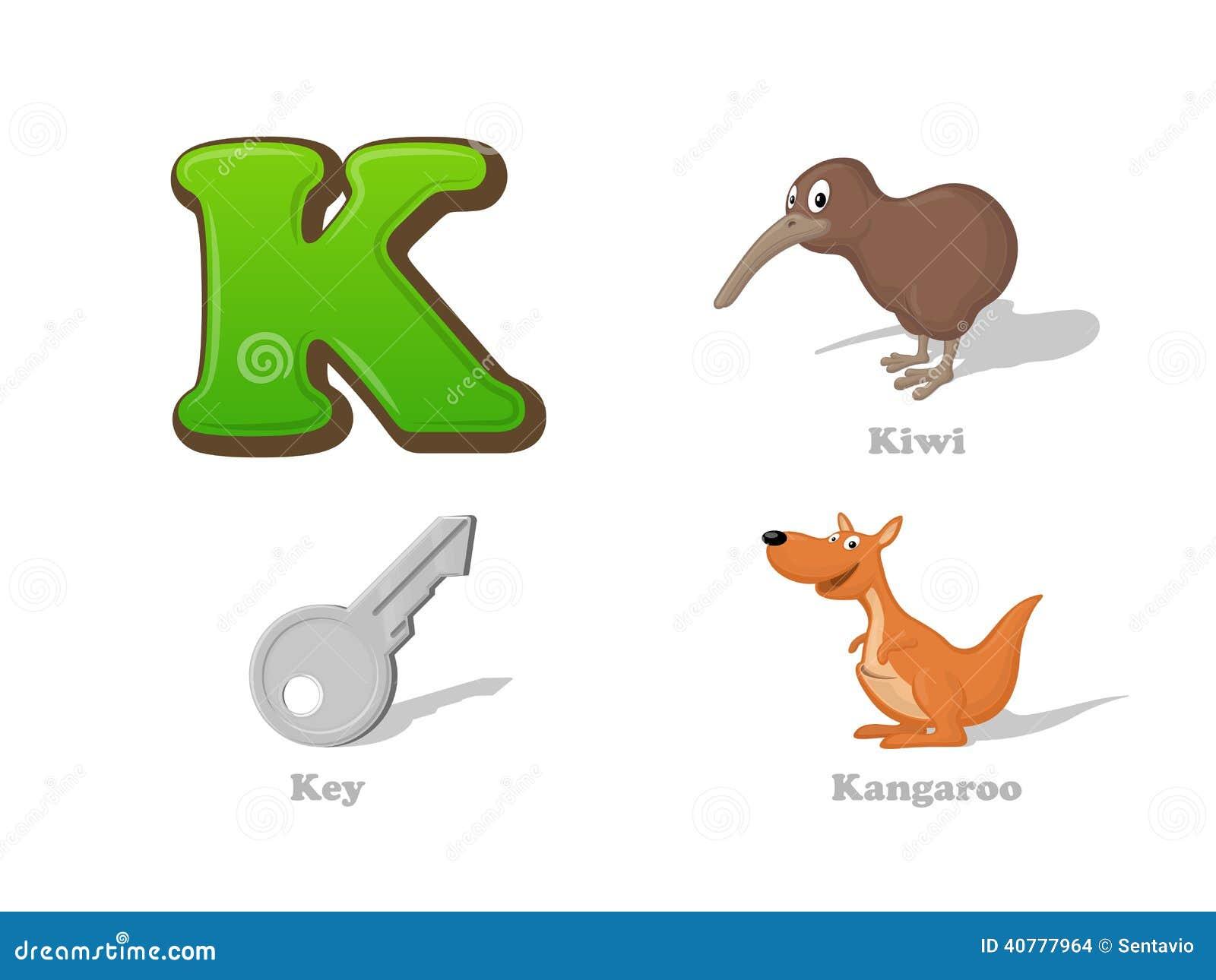 ABC Letter K Funny Kid Icons Set: Kiwi Bird, Key, Kangaroo Stock ...