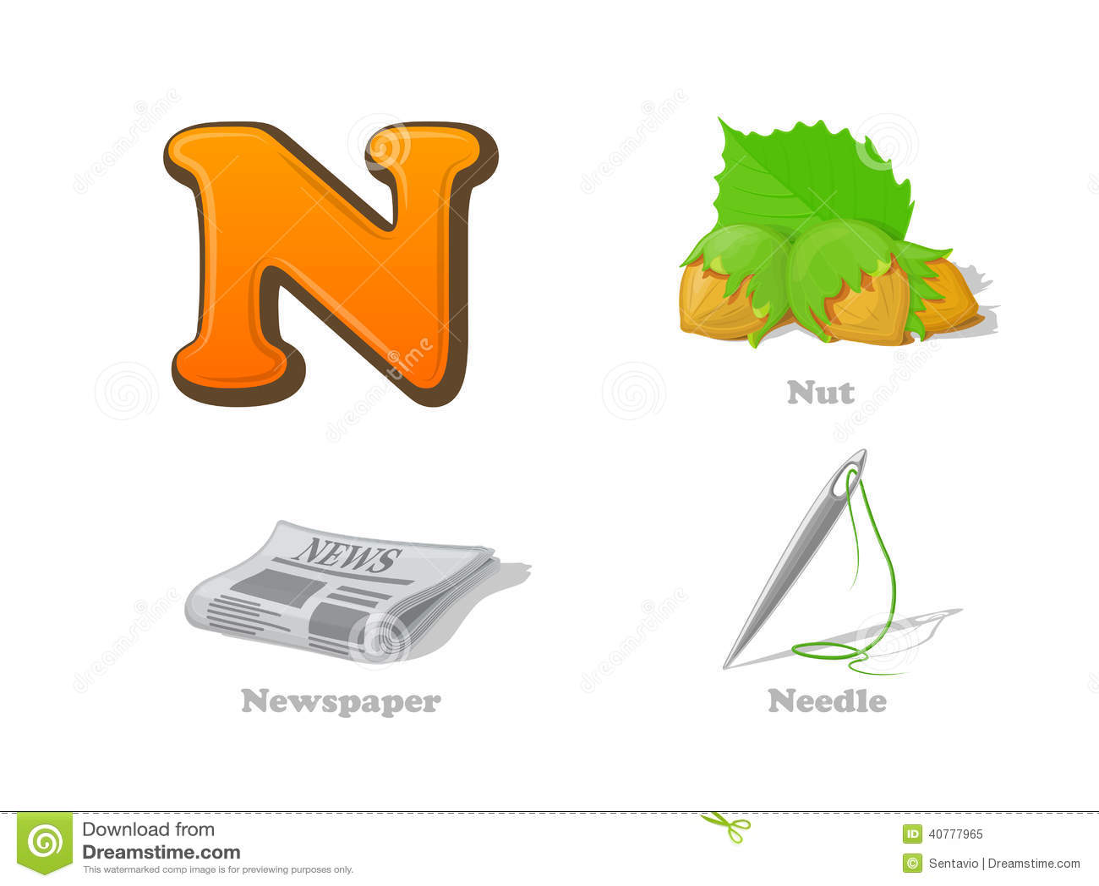 ABC Letter N Funny Kid Icons Set: Nut, Newsletter, Needle