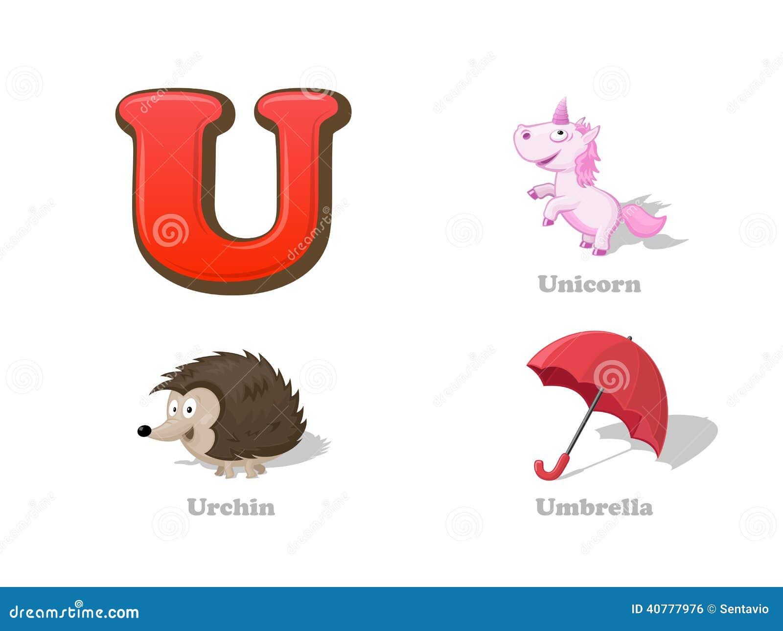 ABC Letter U Funny Kid Icons Set Unicorn Urchin