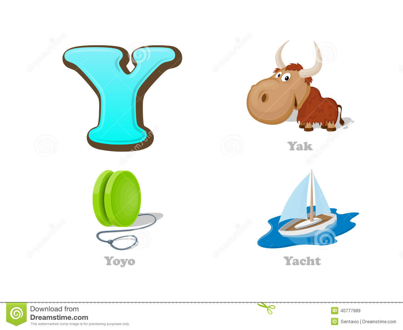 ABC Letter Y Funny Kid Icons Set: Yak, Yo-yo, Yacht Stock Vector - Illustration of colorful ...