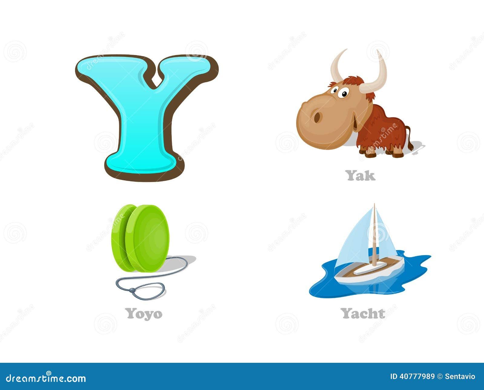 ABC Letter Y Funny Kid Icons Set: Yak, Yo-yo, Yacht Stock Vector ...