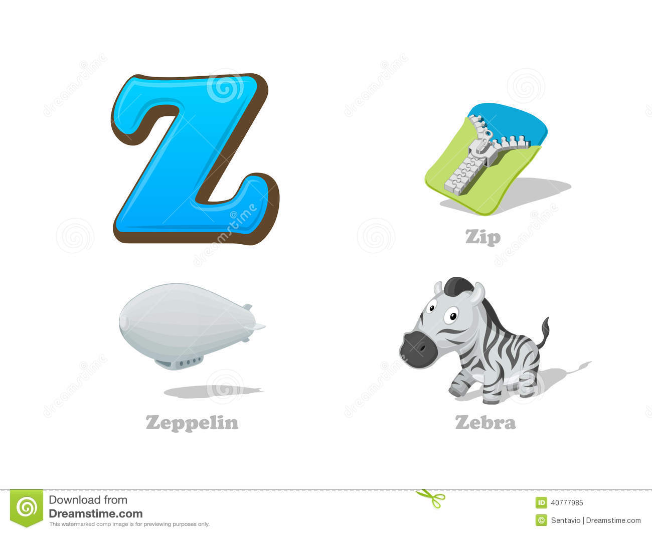 ABC Letter Z Funny Kid Icons Set: Zebra, Zip, Zeppelin