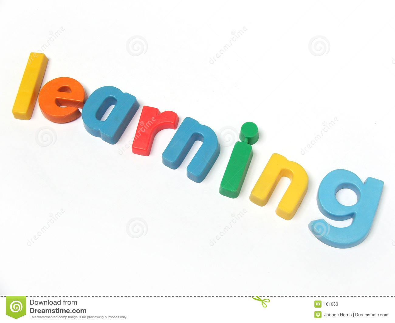 ABC fridge magnet letters spell out the word learning.