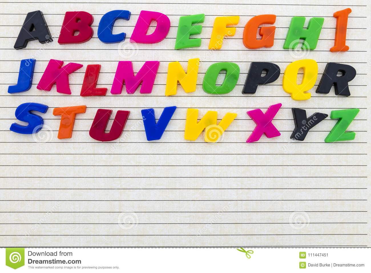 School Lined Paper Alphabet Abc Magnetic Child Letters Spelling Learning Print Colored Capital Copy Space Preschool Notebook Stationery