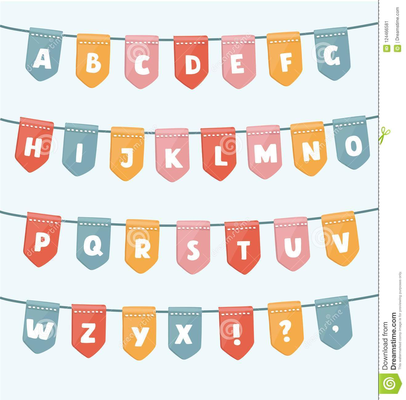ABC with party flags. Handmade font.Smartly grouped and layered.