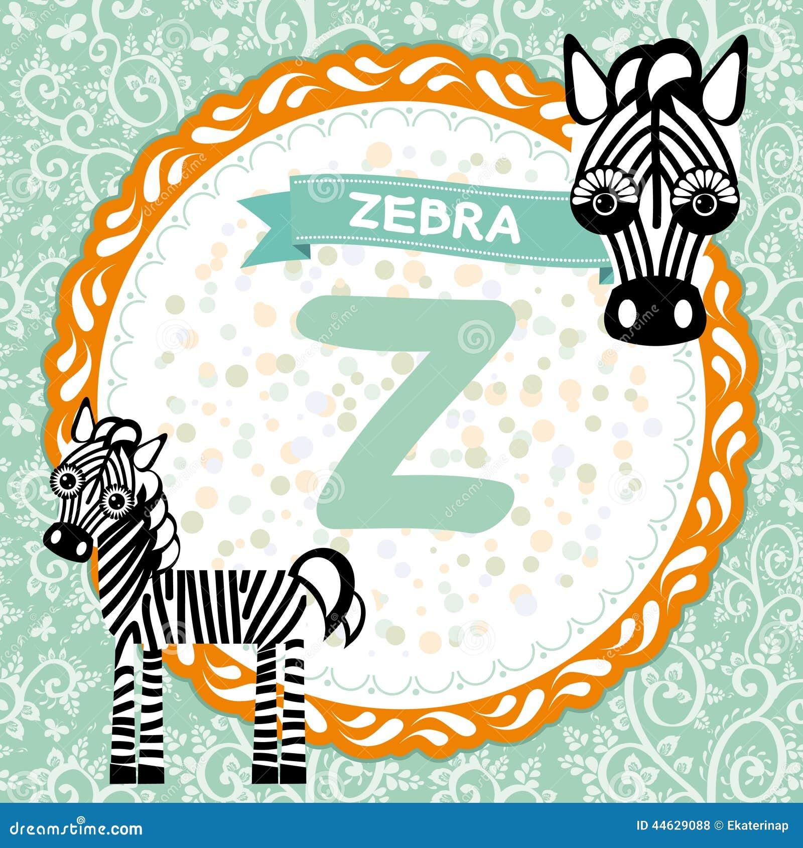 ABC-Tiere Z Ist Zebra Das Englische Alphabet Der Kinder Vektor Abbildung - Bild: 44629088