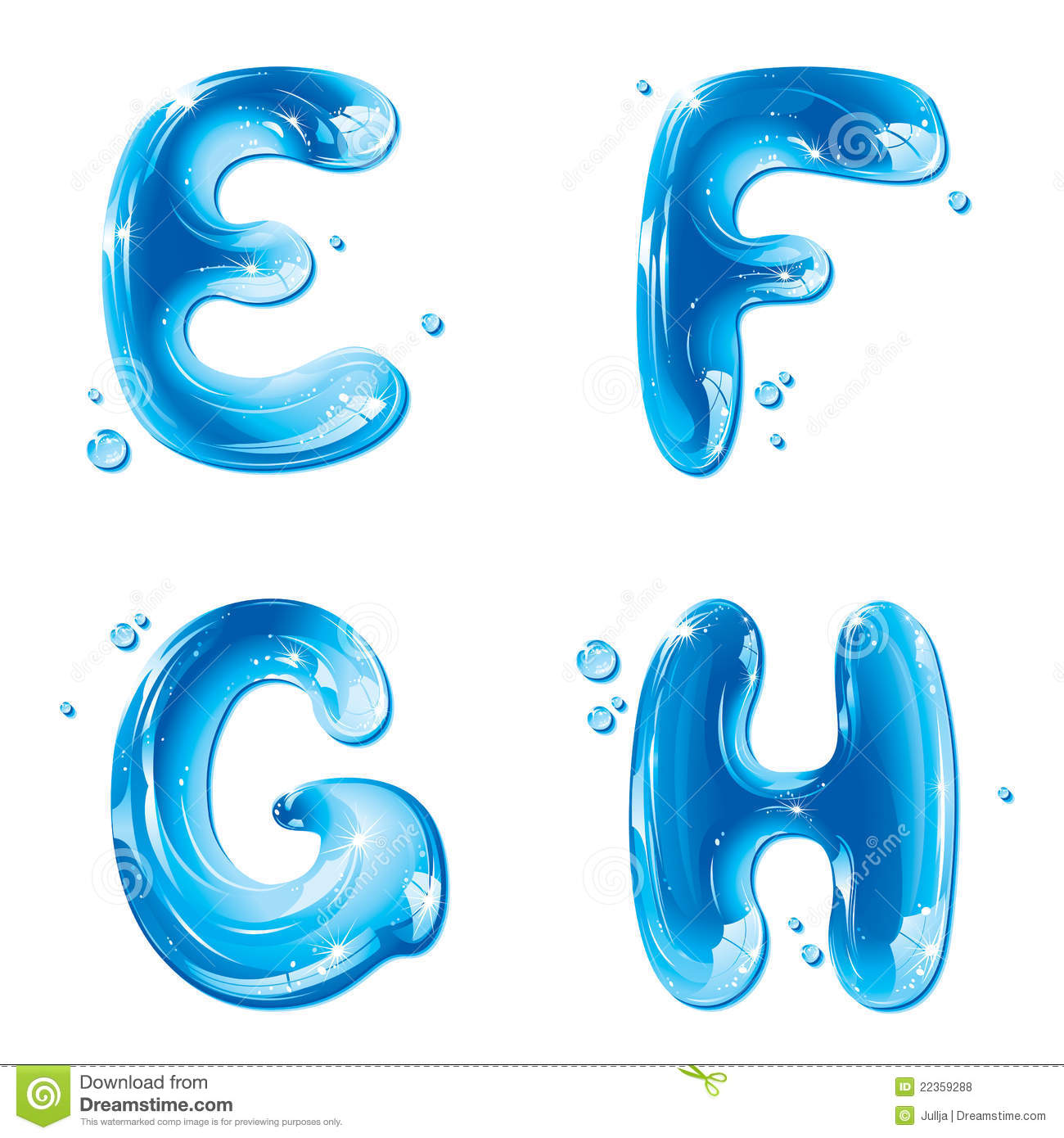 Abc  Water Liquid Letter Set  Capital E F G H Stock Vector