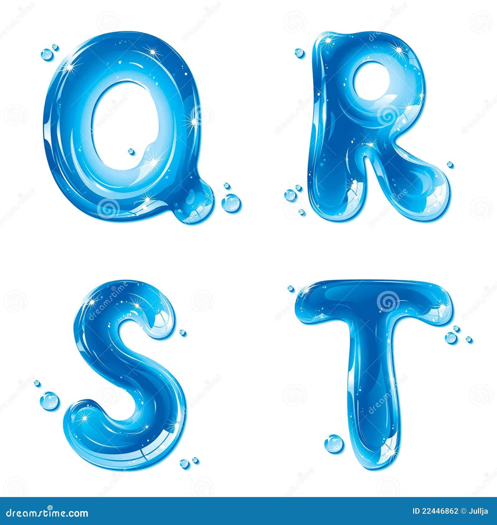 abc water liquid letter set capital q r s t stock