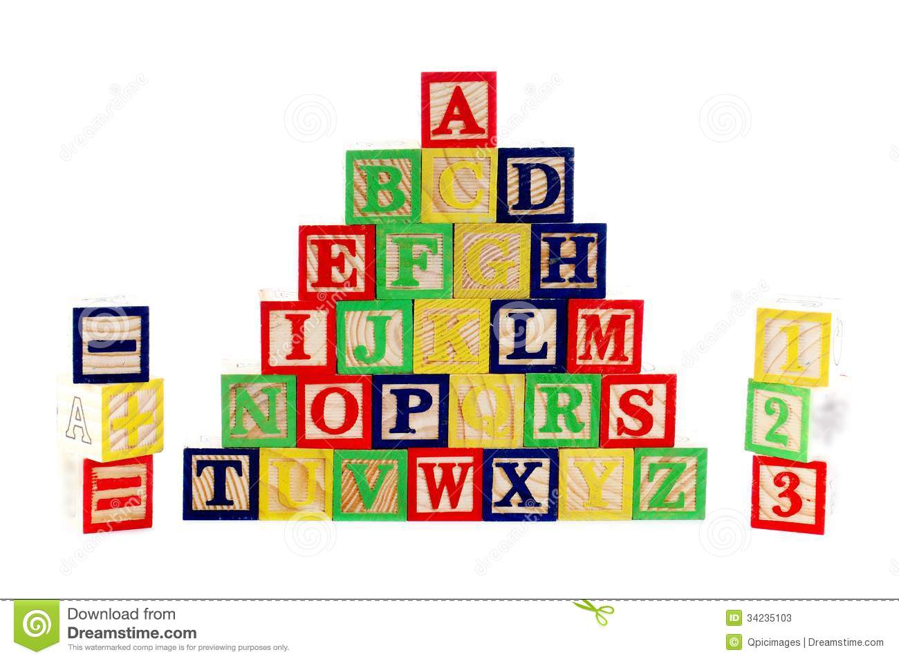 ABC Wooden Blocks On White Stock Photos - Image: 34235103