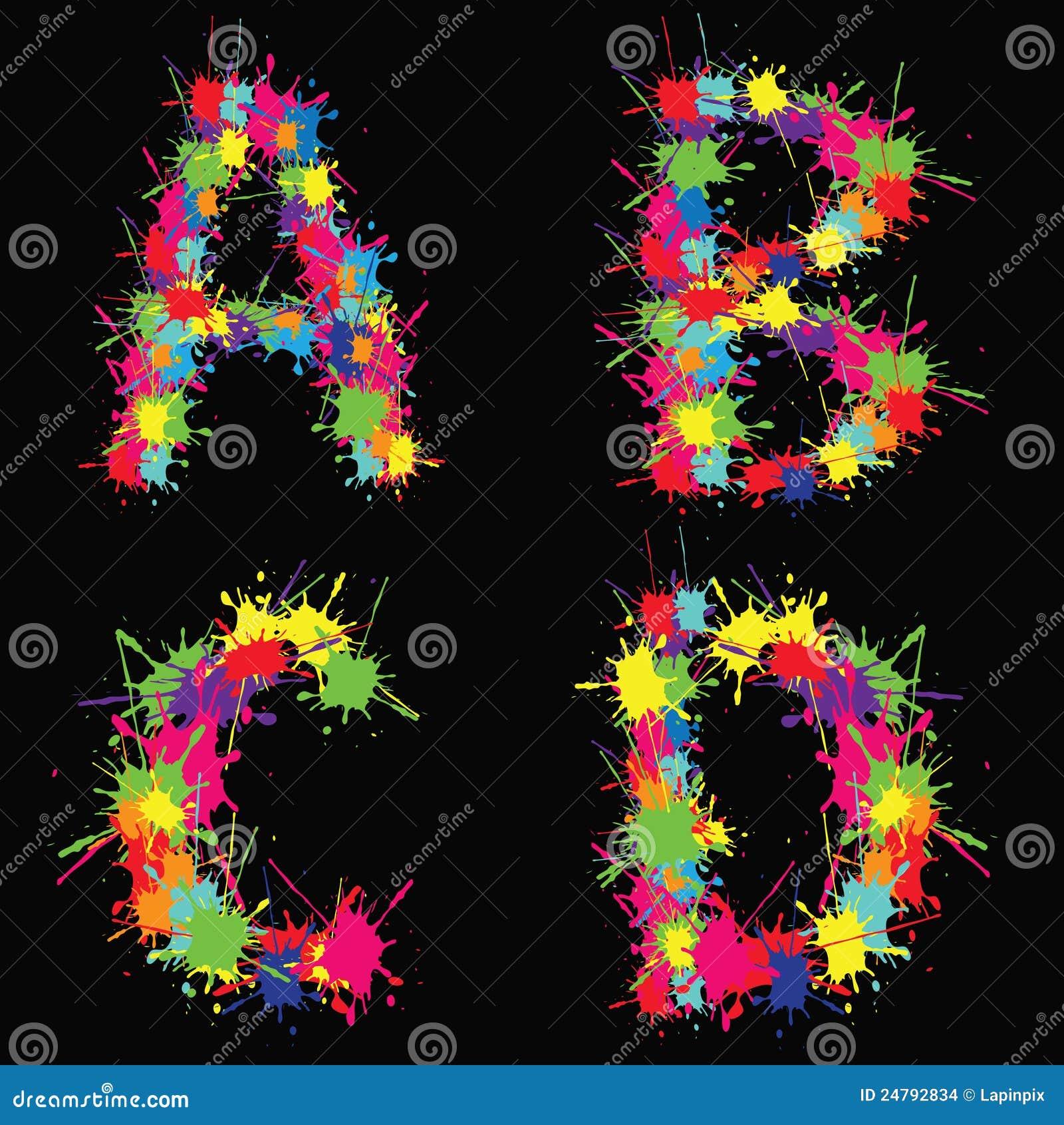 Abcd ζωηρόχρωμο διάνυσμα λεκέδων αλφάβητου