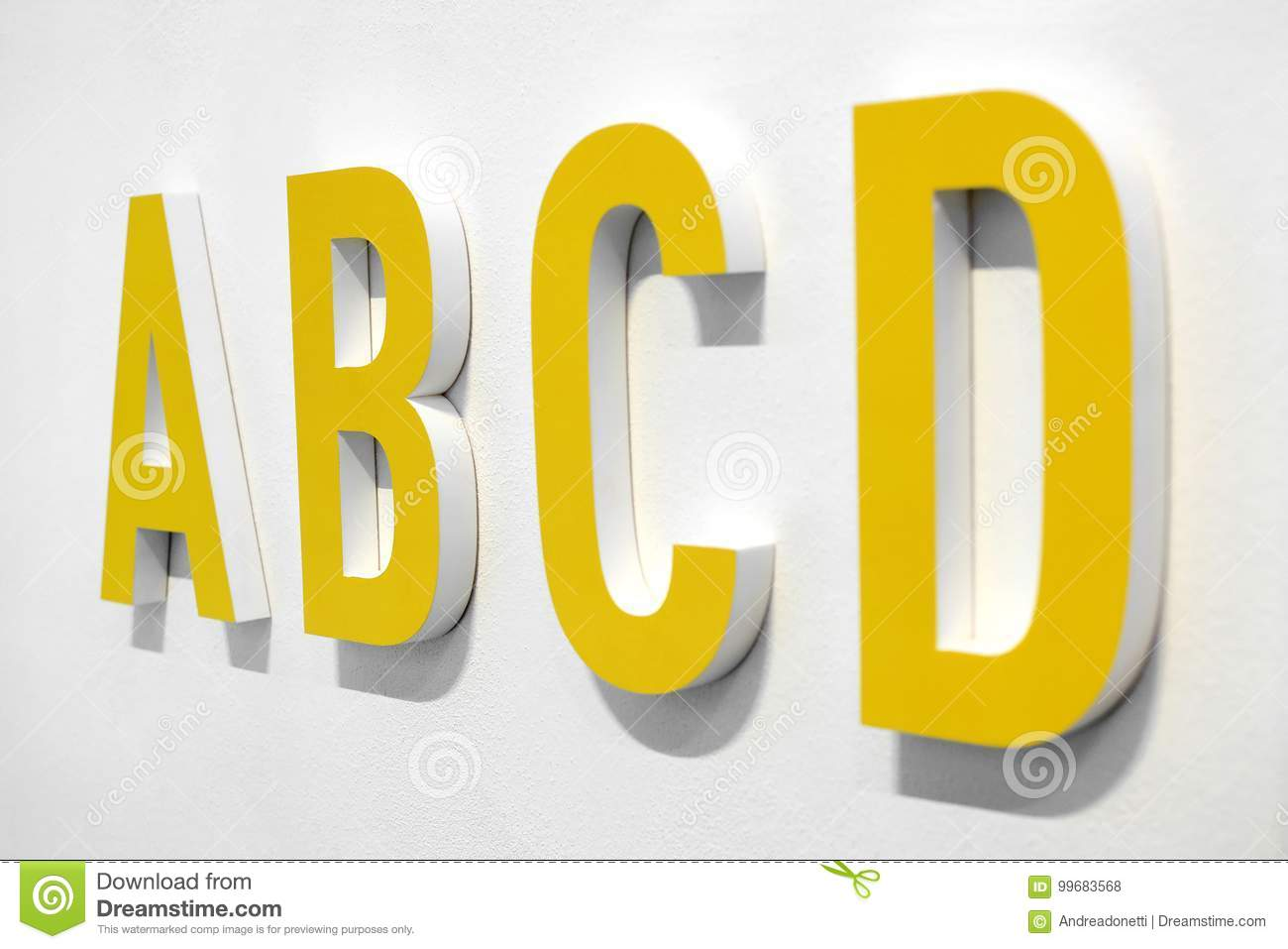 ABCD Yellow Alphabet Letters Stock Illustration - Illustration of ...