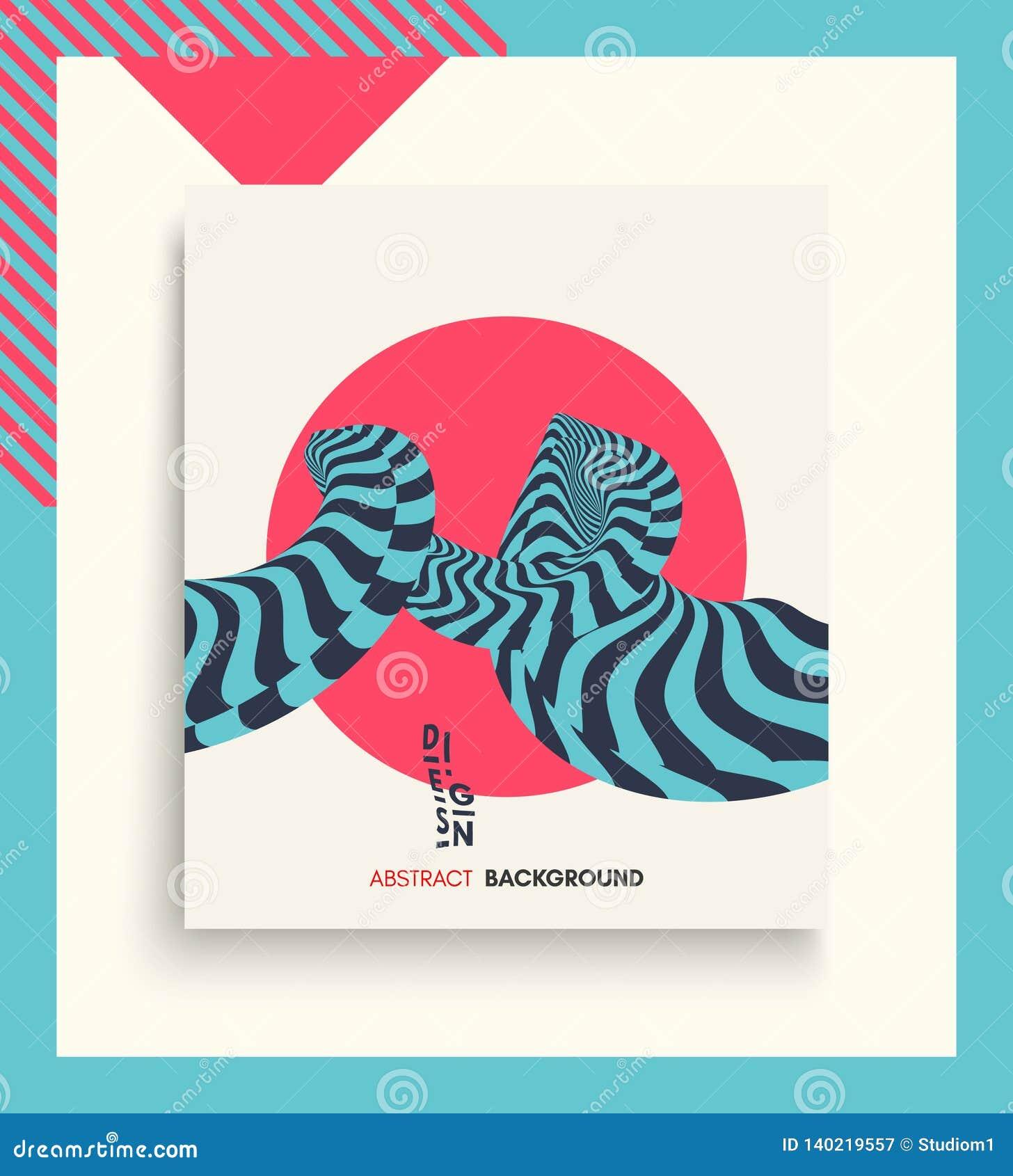 Abdeckungsdesignschablone Muster mit optischer Illusion Abstrakter geometrischer Hintergrund 3d Asiatische Vektorillustration