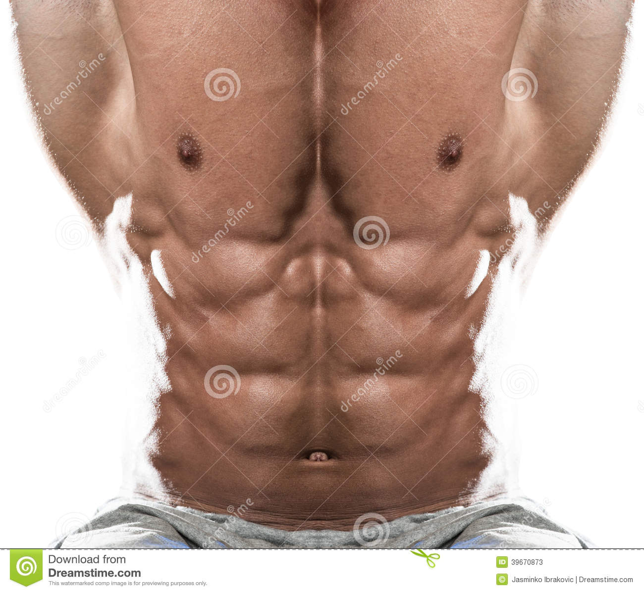 Abdominal Muscle Close-Up On White Background Stock Photo ...