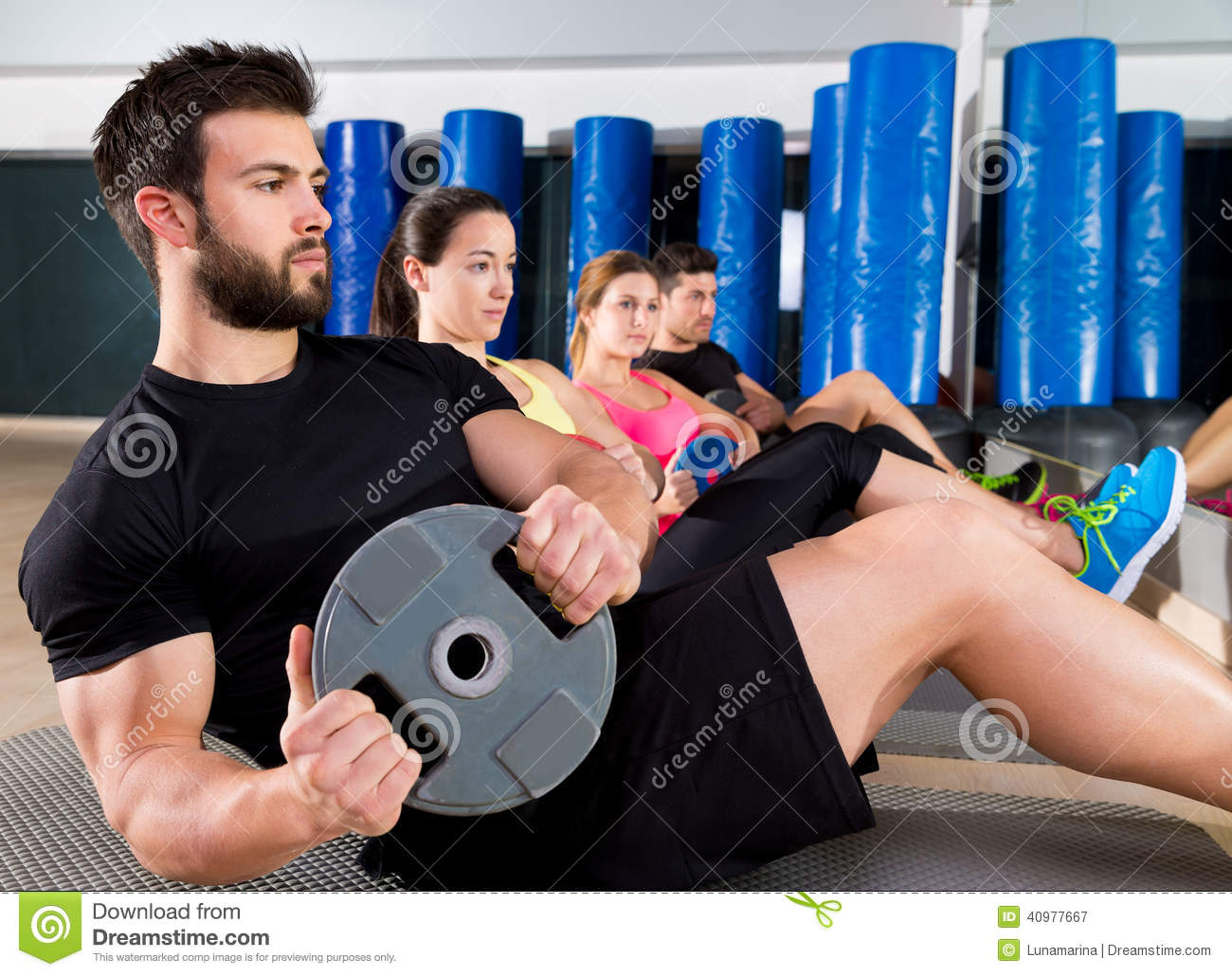Abdominal Plate Training Core Group At Gym Stock Photo ...