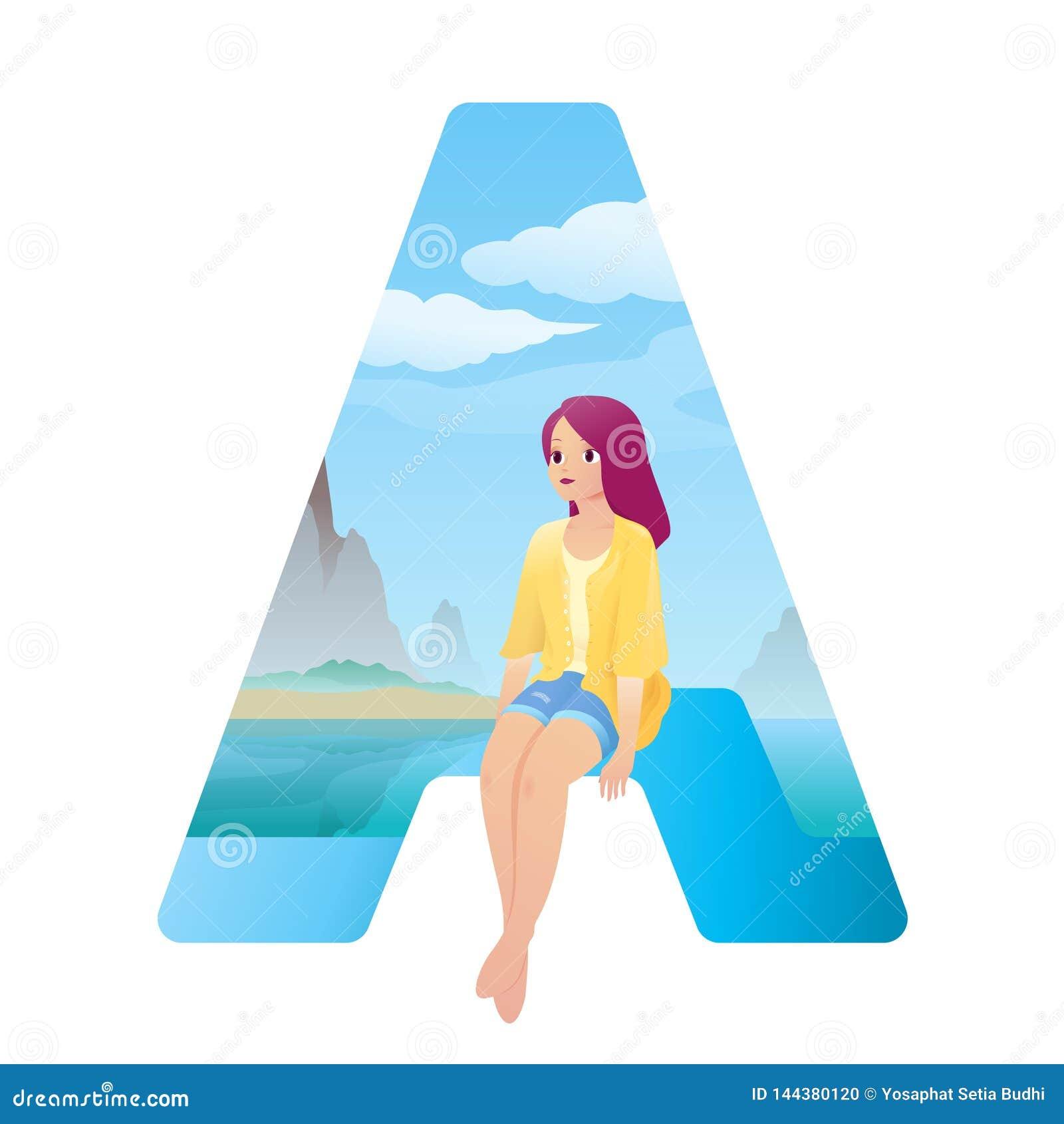 Abecadła A dziewczyna na plaży