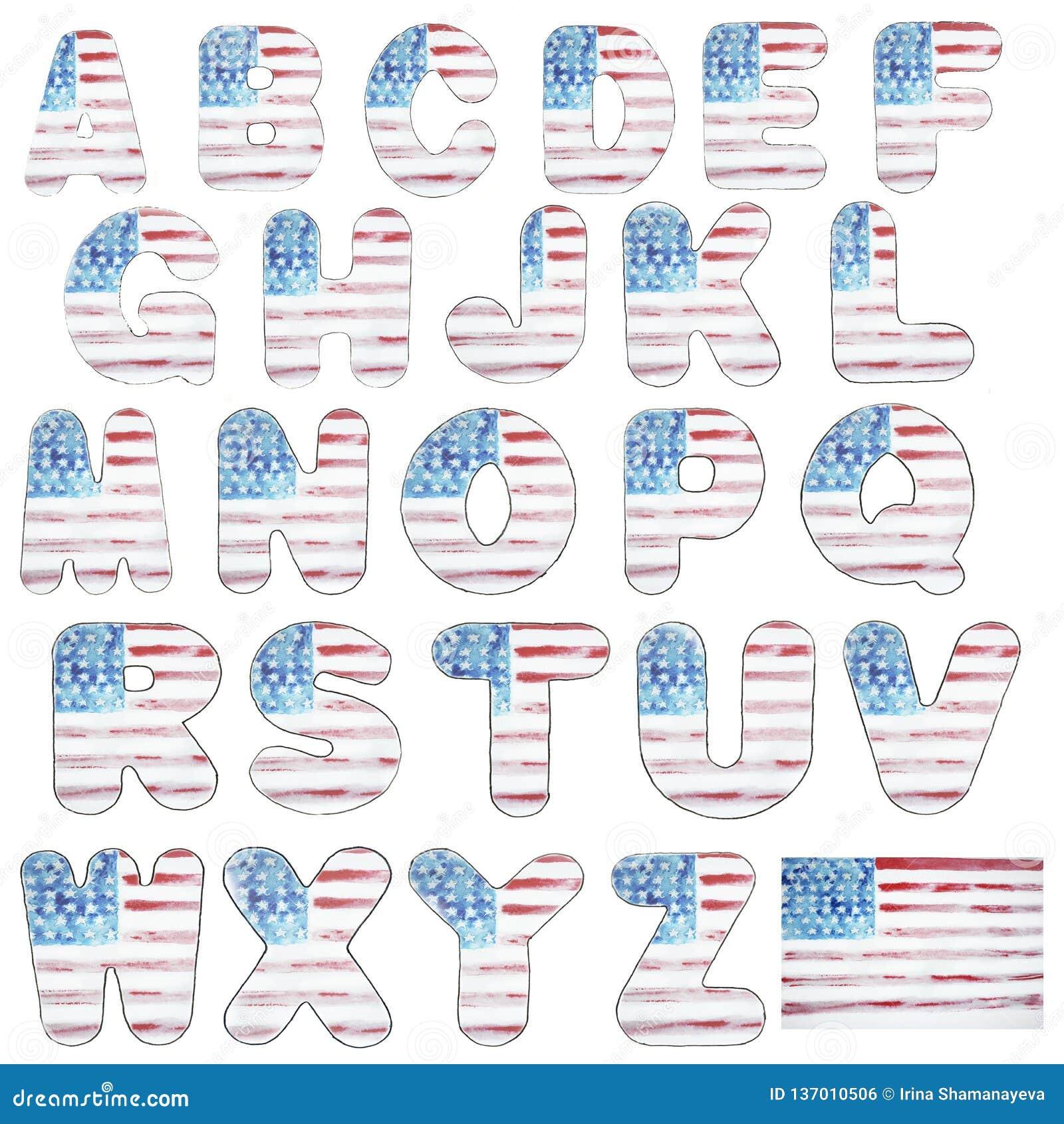 Abecadło postacie i list flagi amerykańskiej akwarela, typografia na dniu niepodległości, usa, akwareli nakreślenie