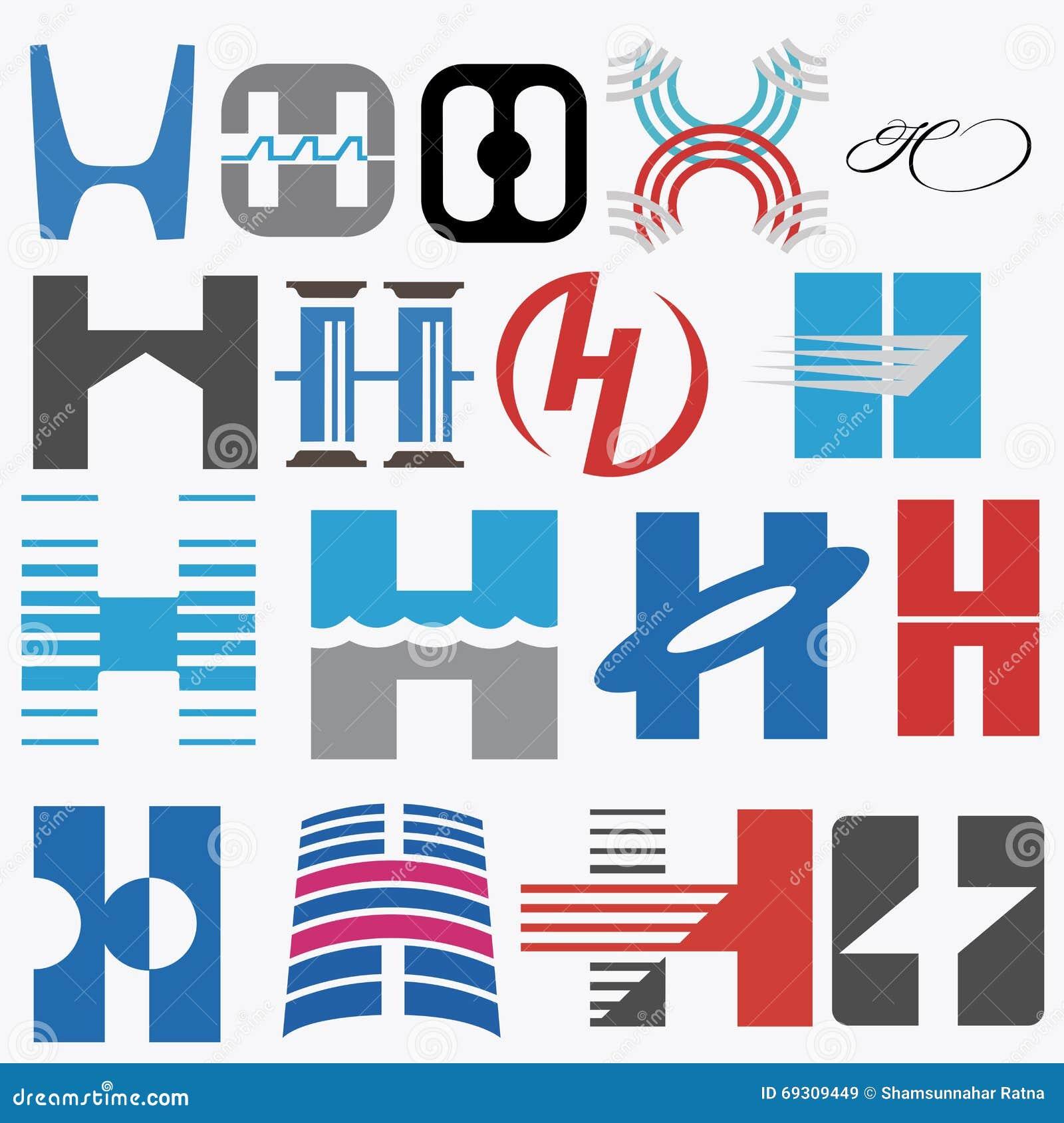Abecadłowy pojęć projekta listu logo Listowy H