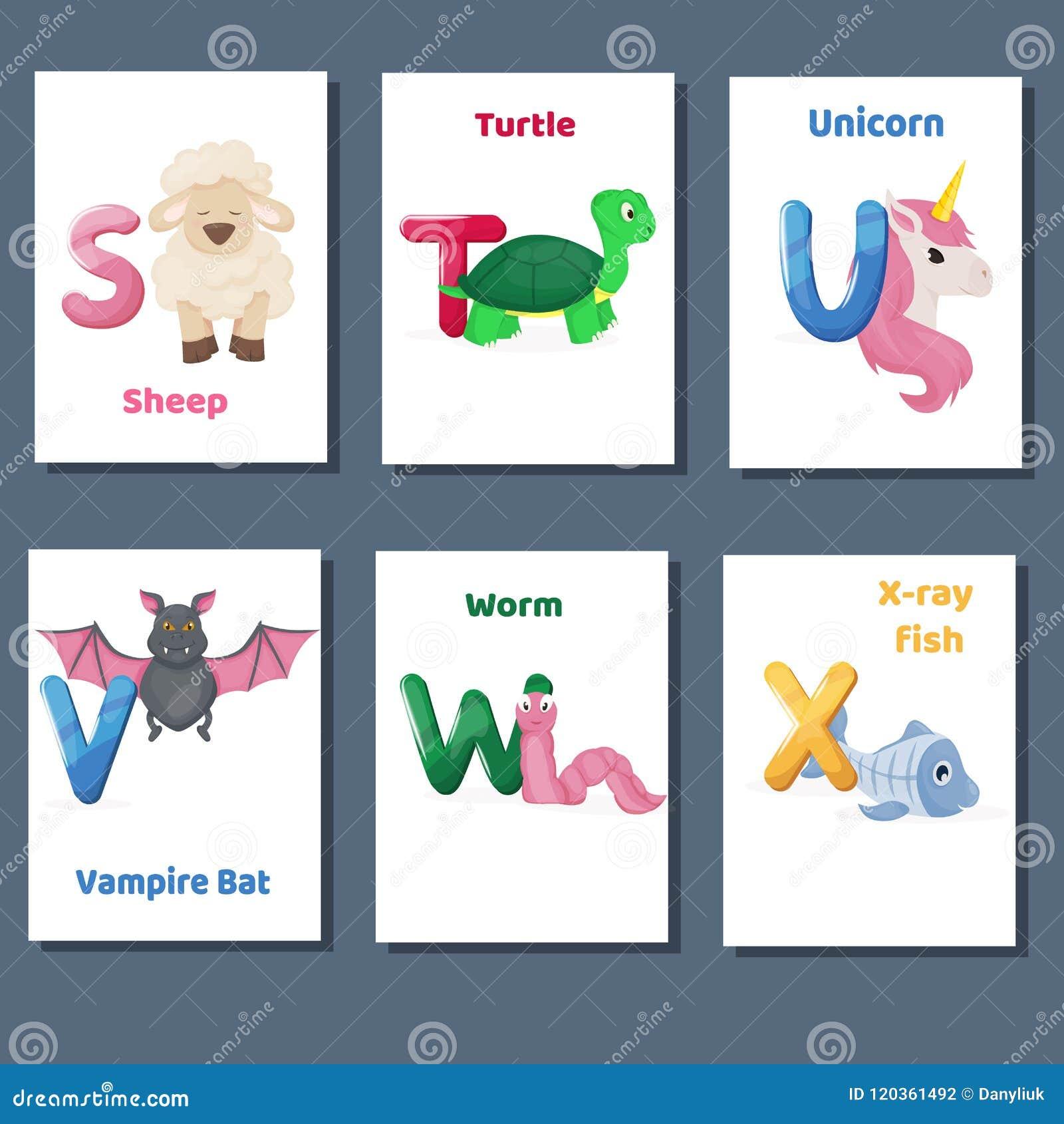 Abecadeł printable flashcards wektorowa kolekcja z listowym S T U V W X Zoo zwierzęta dla język angielski edukaci
